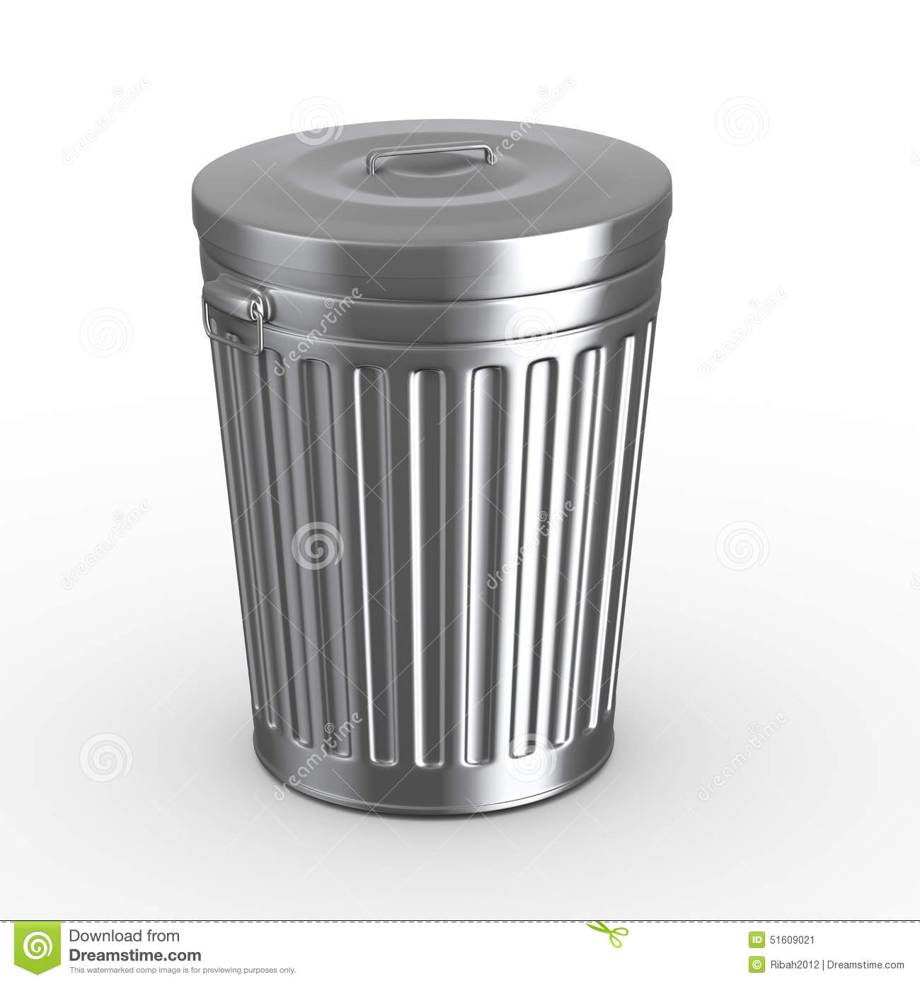 3d Closed Trash Can Bin Stock Illustration Image 51609021