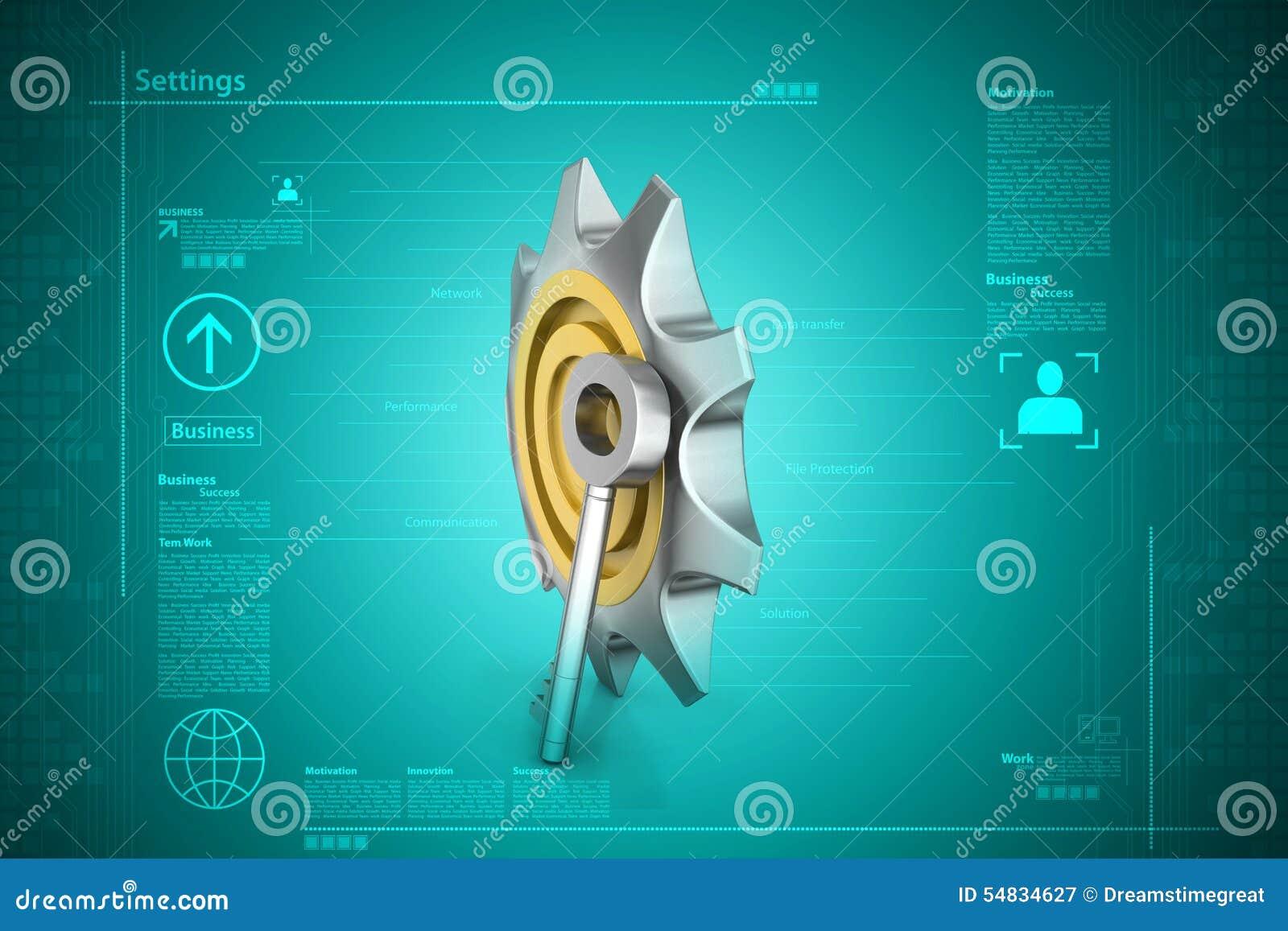 3d Cog Wheel With Key Stock Illustration Illustration Of Component