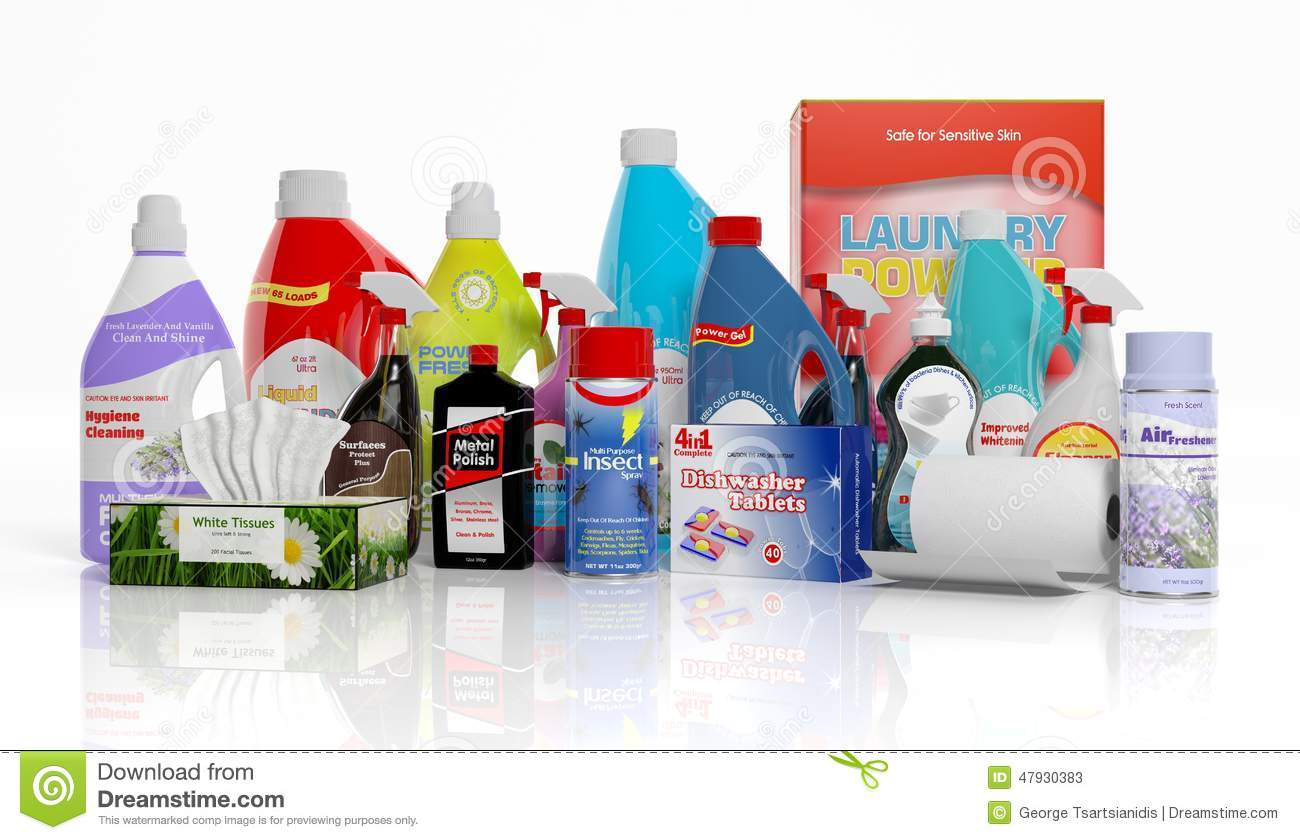 3D Collection Of Household Cleaning Products Stock ...