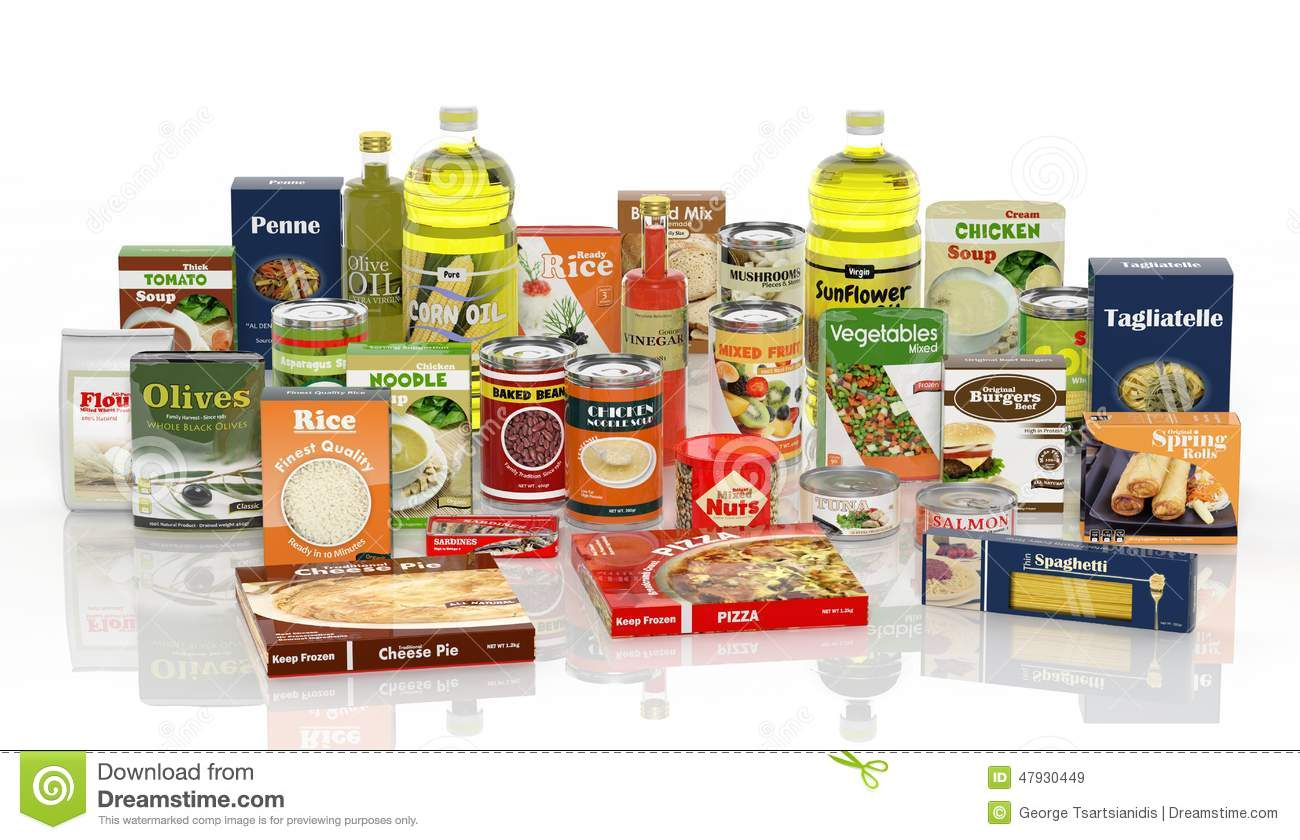 3d collection of packaged food stock illustration