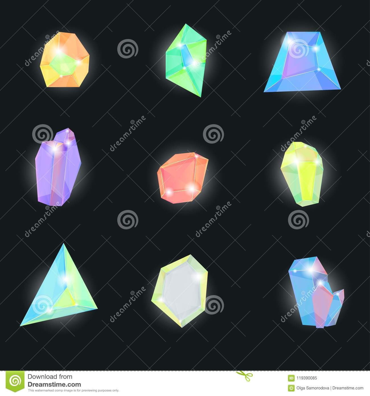 3d color detallado realista Crystal Stone Set Vector