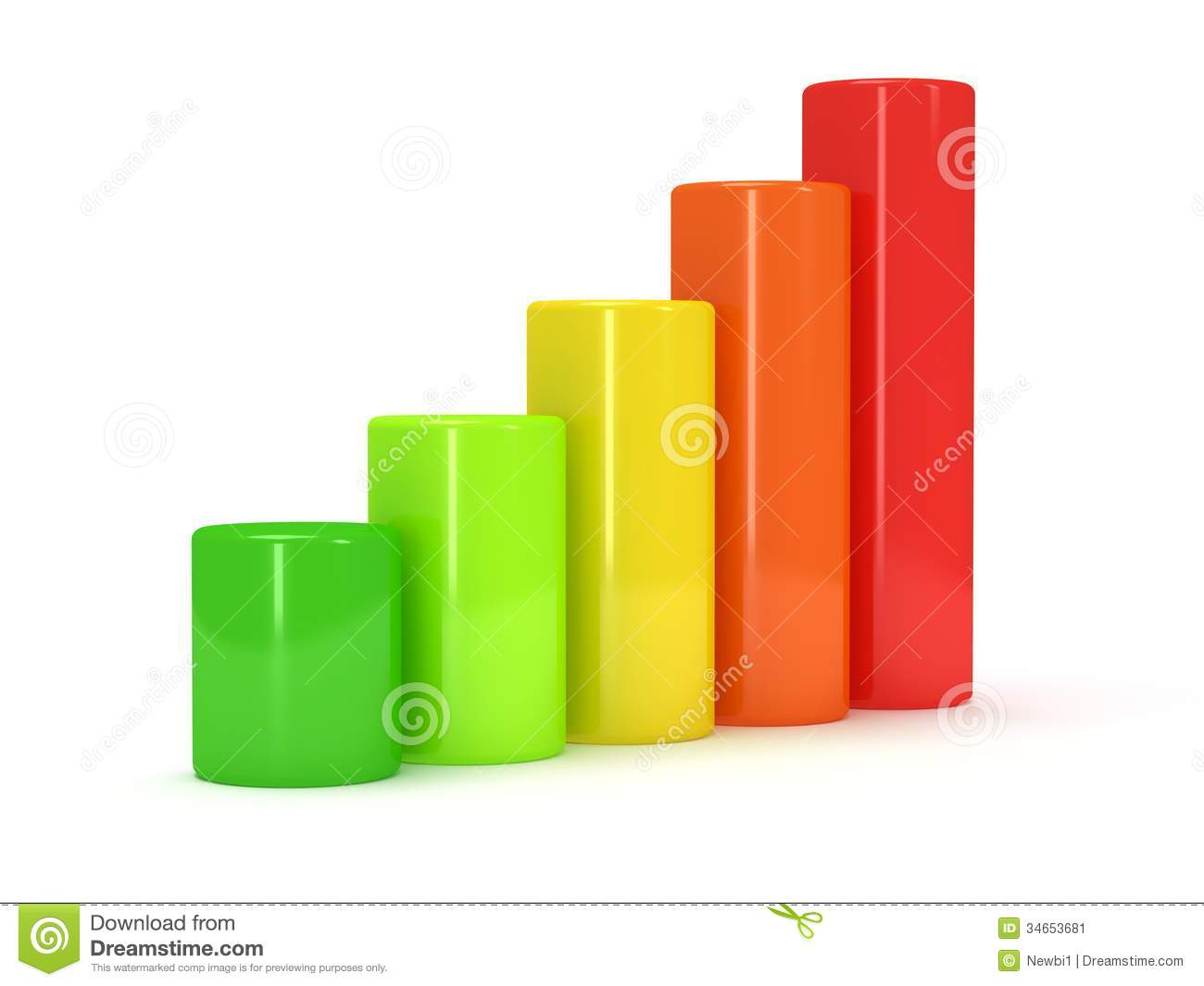 3d Colored Bar Graph Stock Image