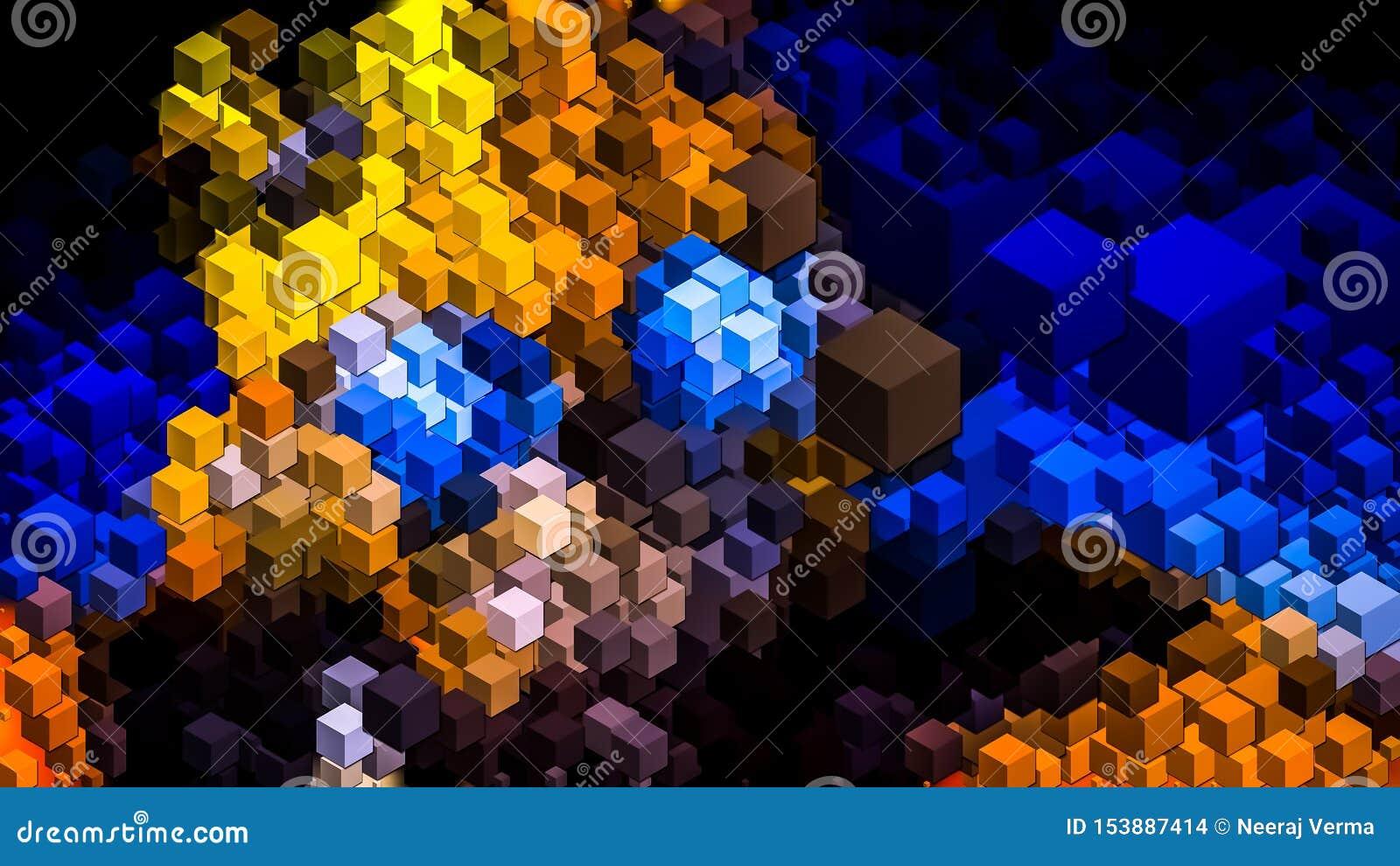 3D Colorful Cubes Wallpaper