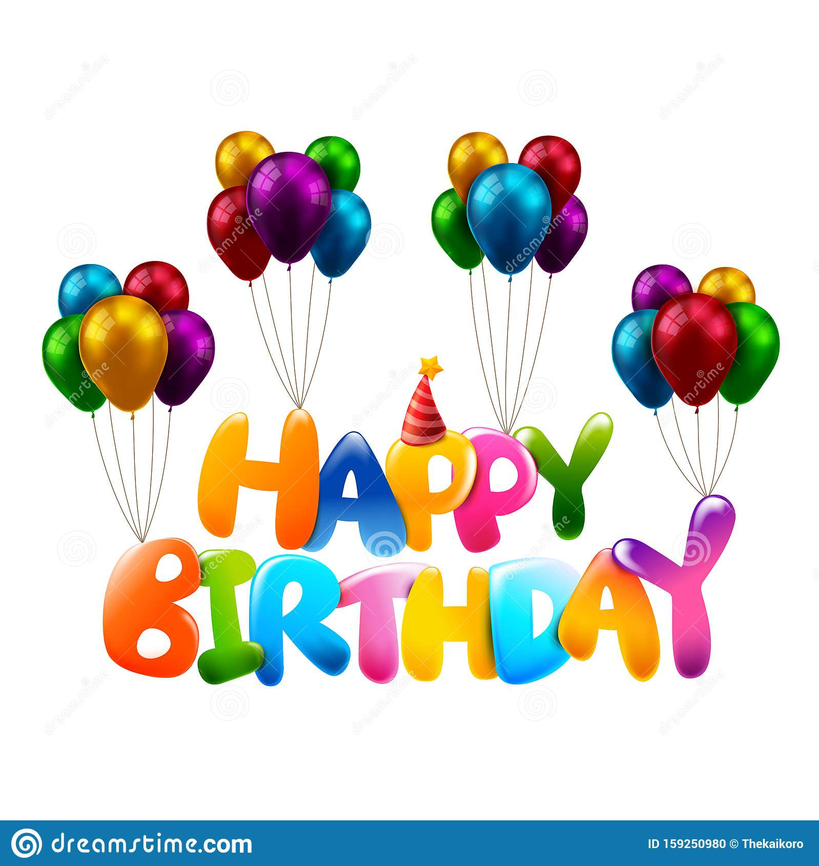 3D Colorful Happy Birthday Calligraphy 0008 Stock