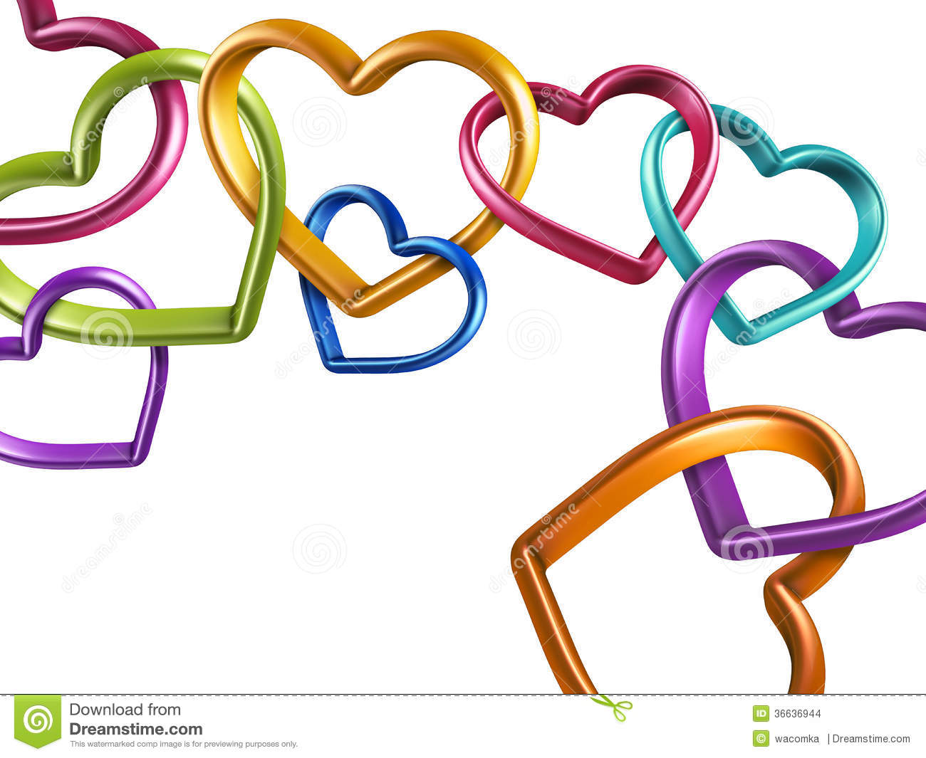 3d colorful hearts linked together into chain stock illustration rh dreamstime com