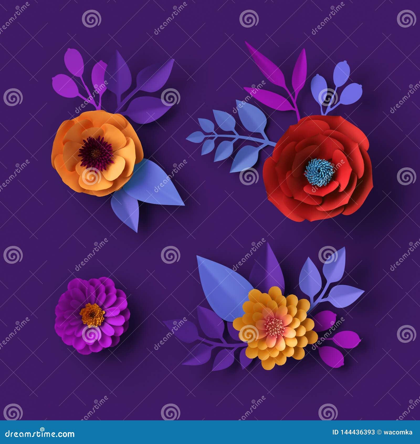 3d Colorful Neon Paper Flowers Wallpaper, Botanical ...