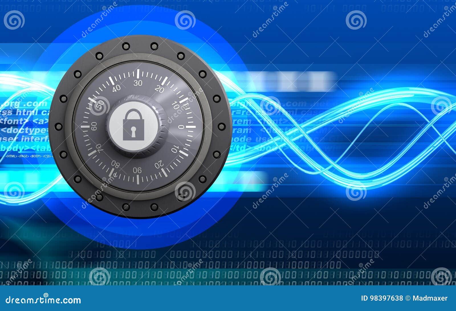 3d combination lock blank stock illustration  Illustration