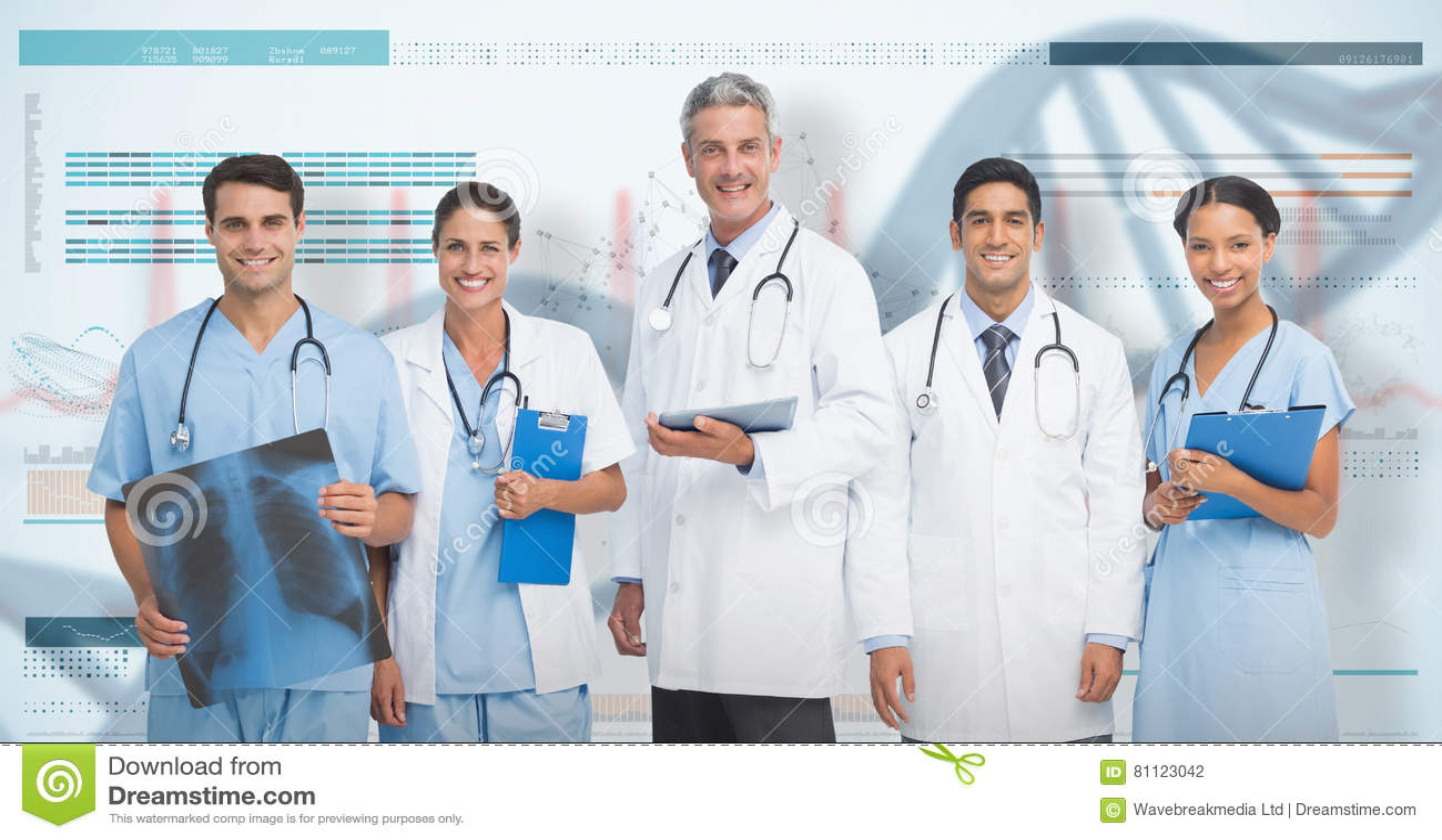 3D Composite image of portrait of confident medical team
