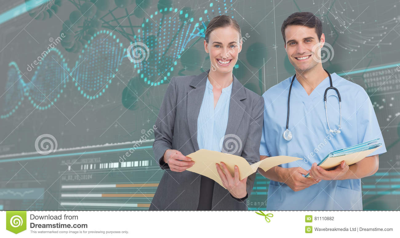3D Composite image of portrait of male and female doctors discussing over reports