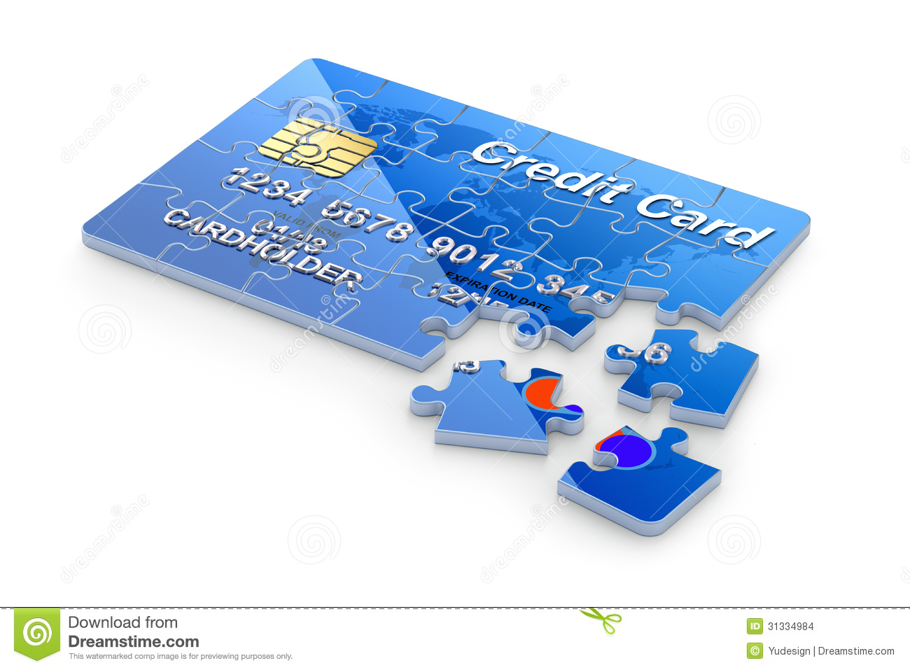 3D Concept With Credit Card Puzzle Stock Images - Image ...