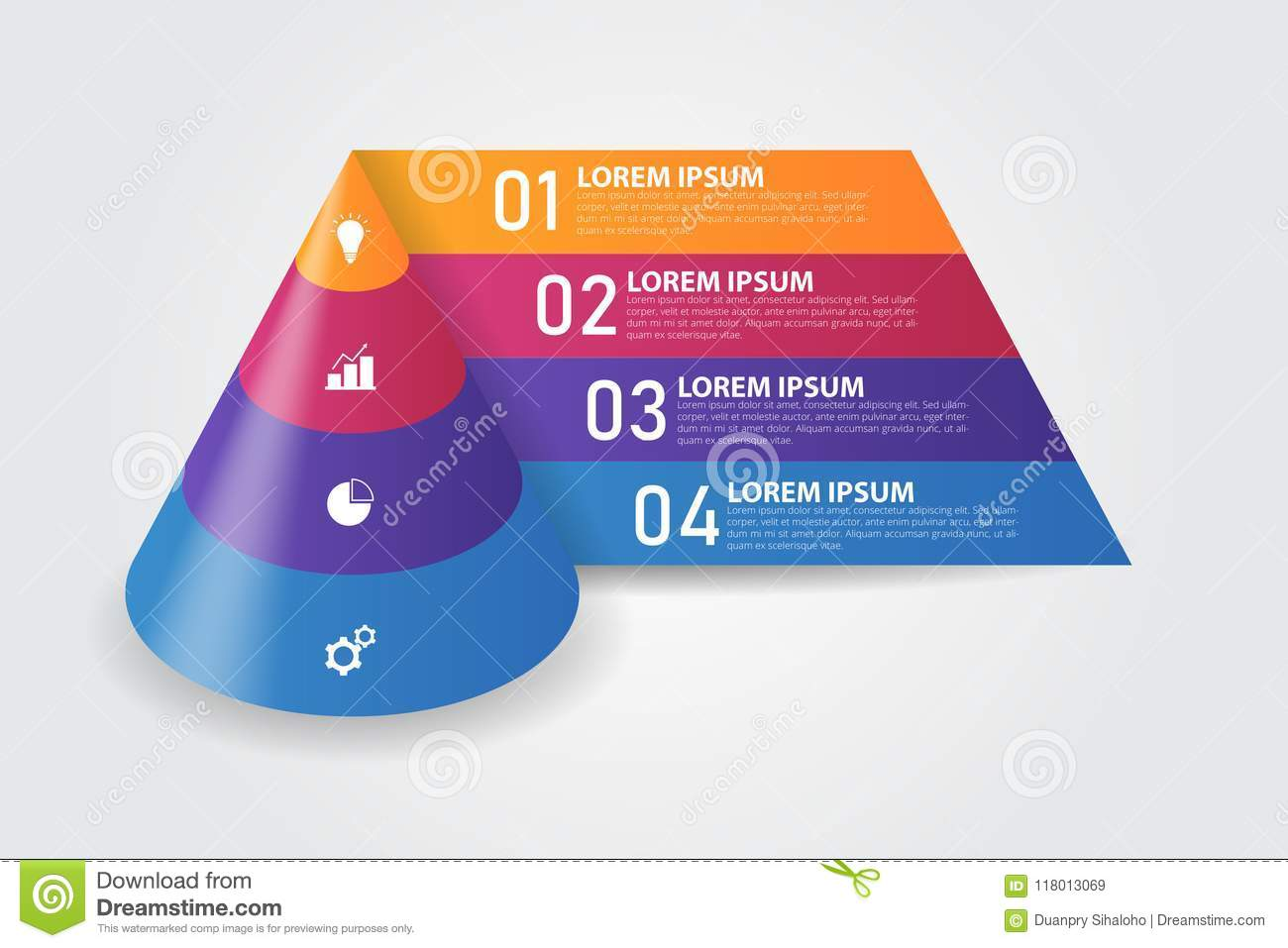 3D Cone Pyramid Infographics Template For Business Education Web Design Banners Brochures