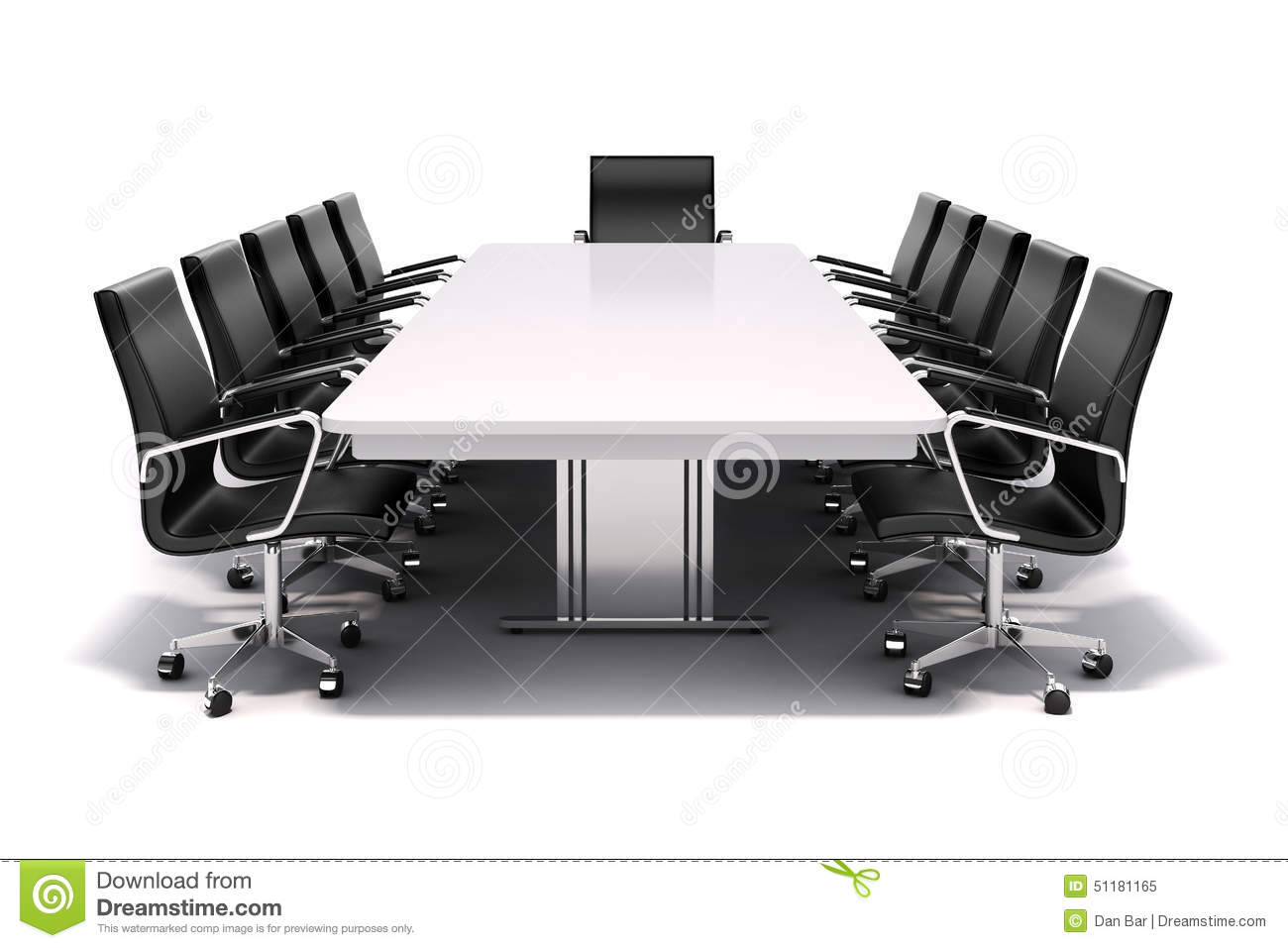 3d Conference Table And Chairs Stock Illustration Image