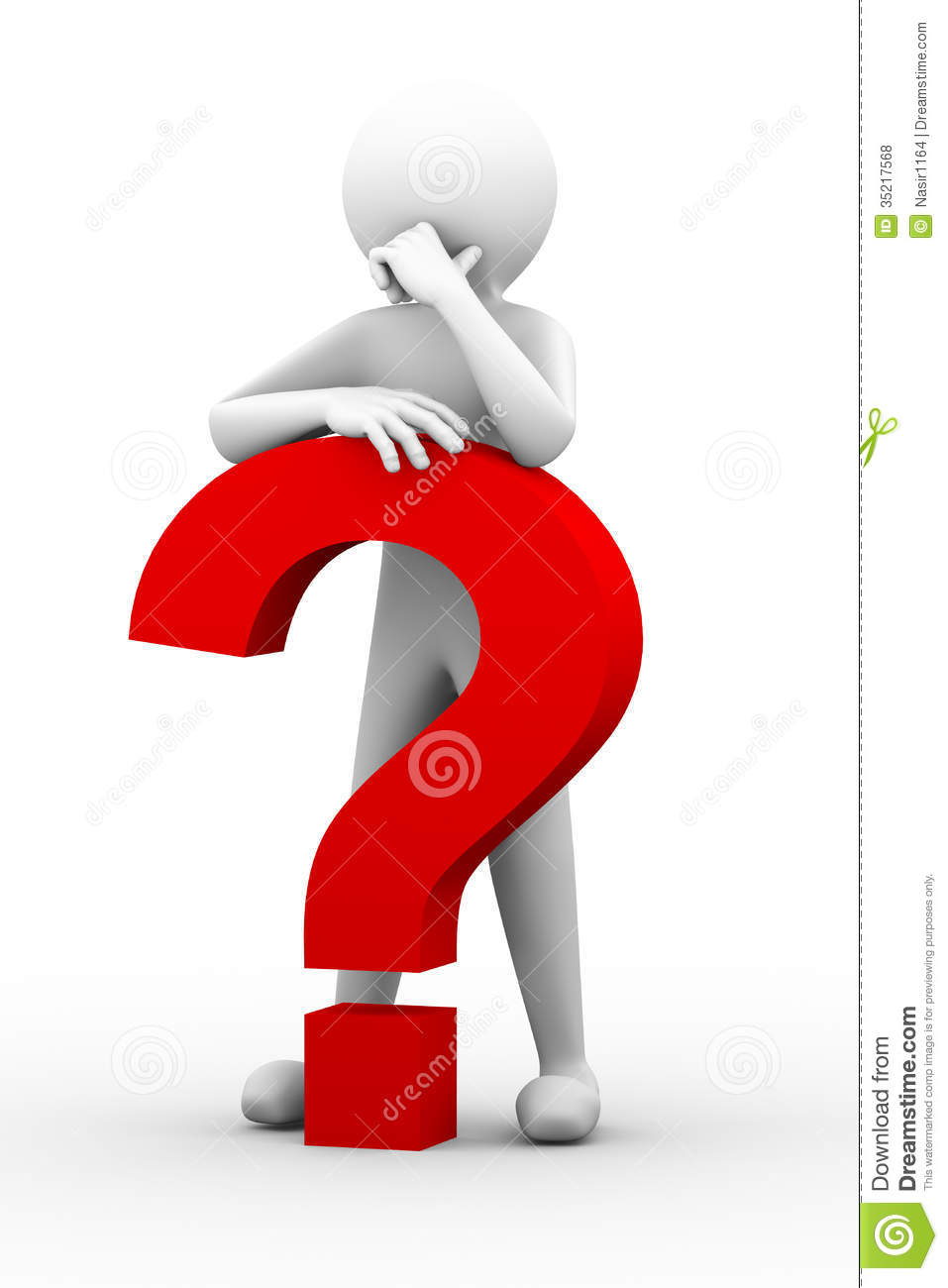 3d Confused Person With Question Mark Illustration Stock ...