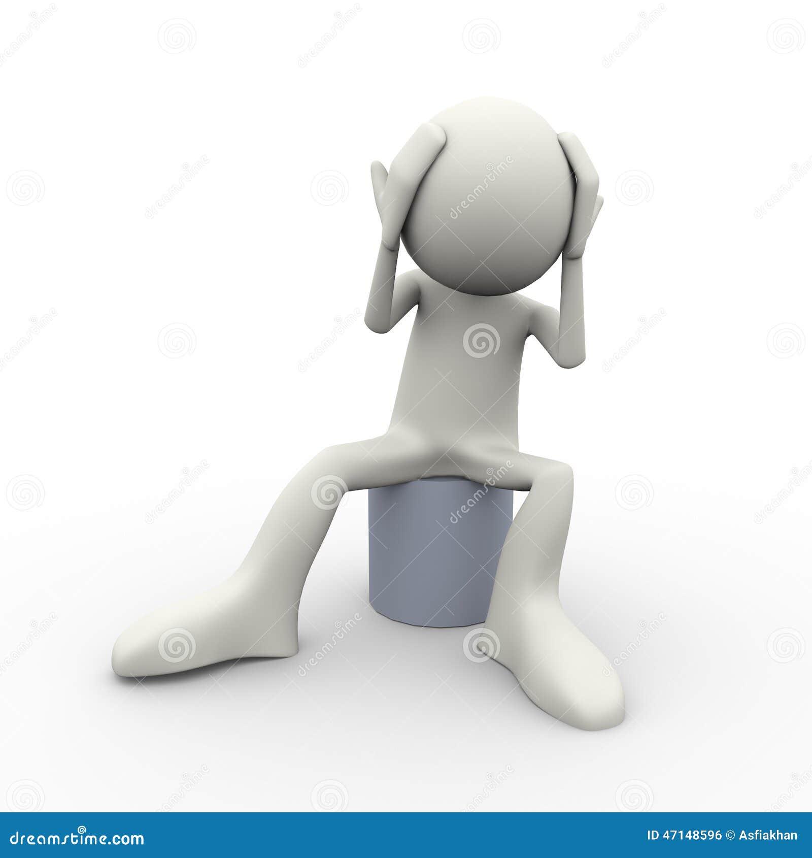 3d Confused Upset Sad Person Stock Illustration