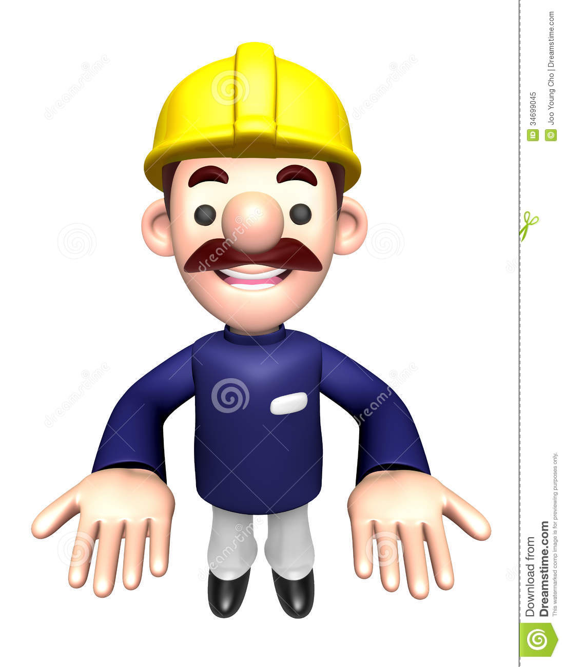 3d construction site man mascot the direction of pointing for Character designer job