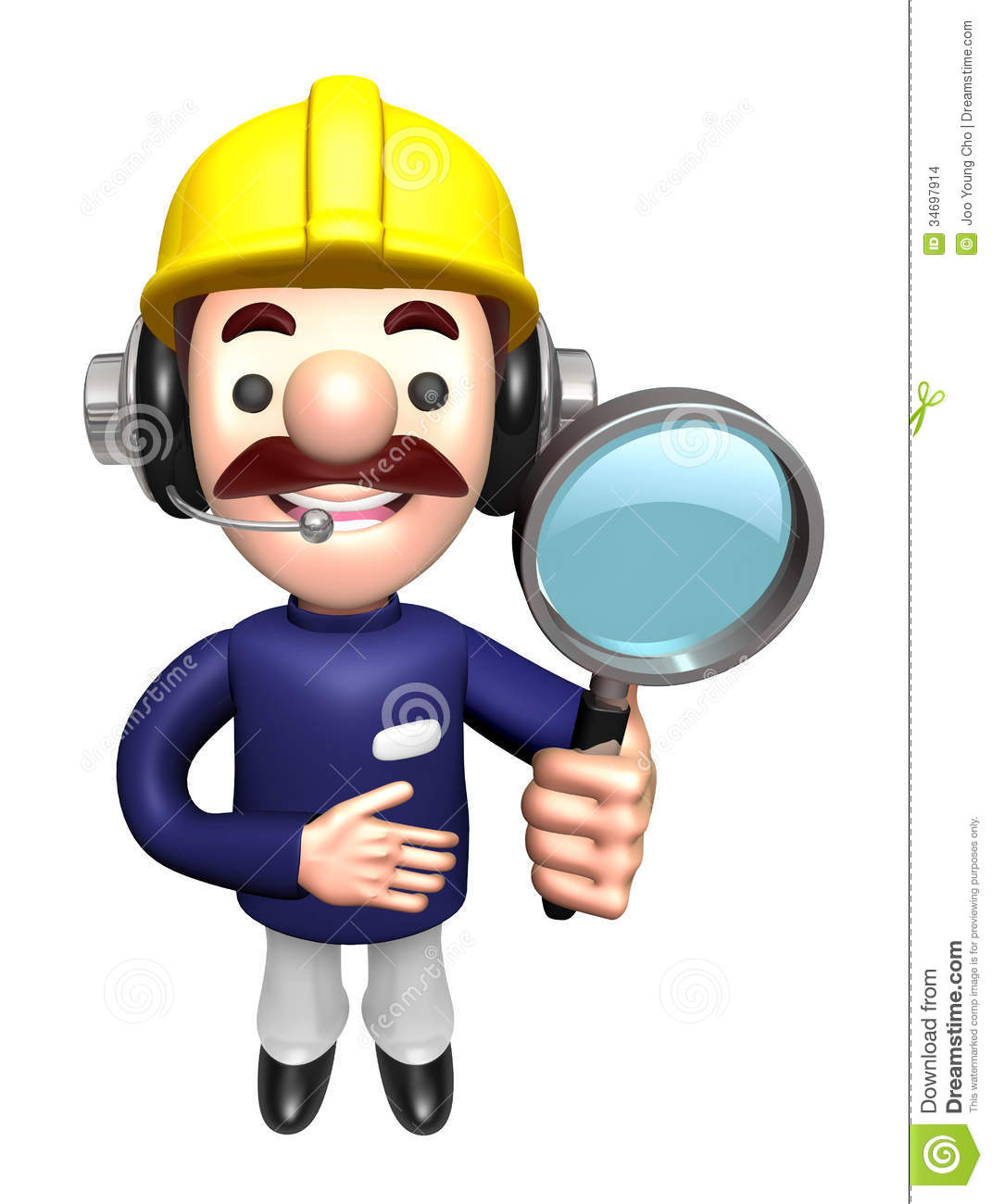 3d construction site man mascot examine a with magnifying for Character designer job
