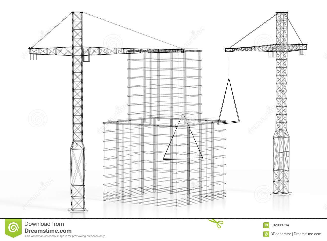 3d Construction Site Office Building Wireframe Stock