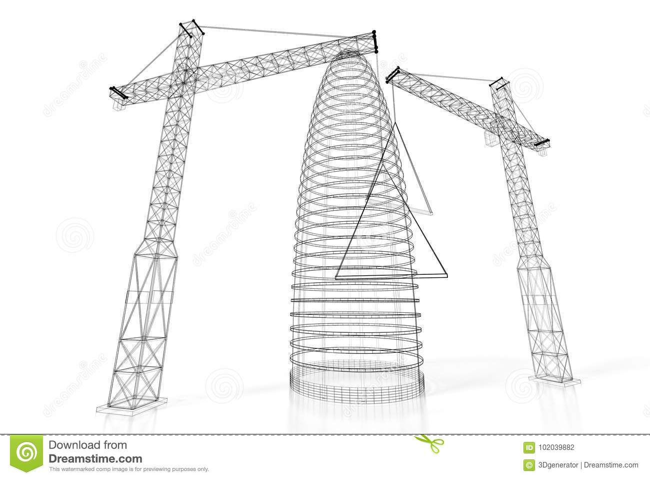 3d construction site office building wireframe stock illustration