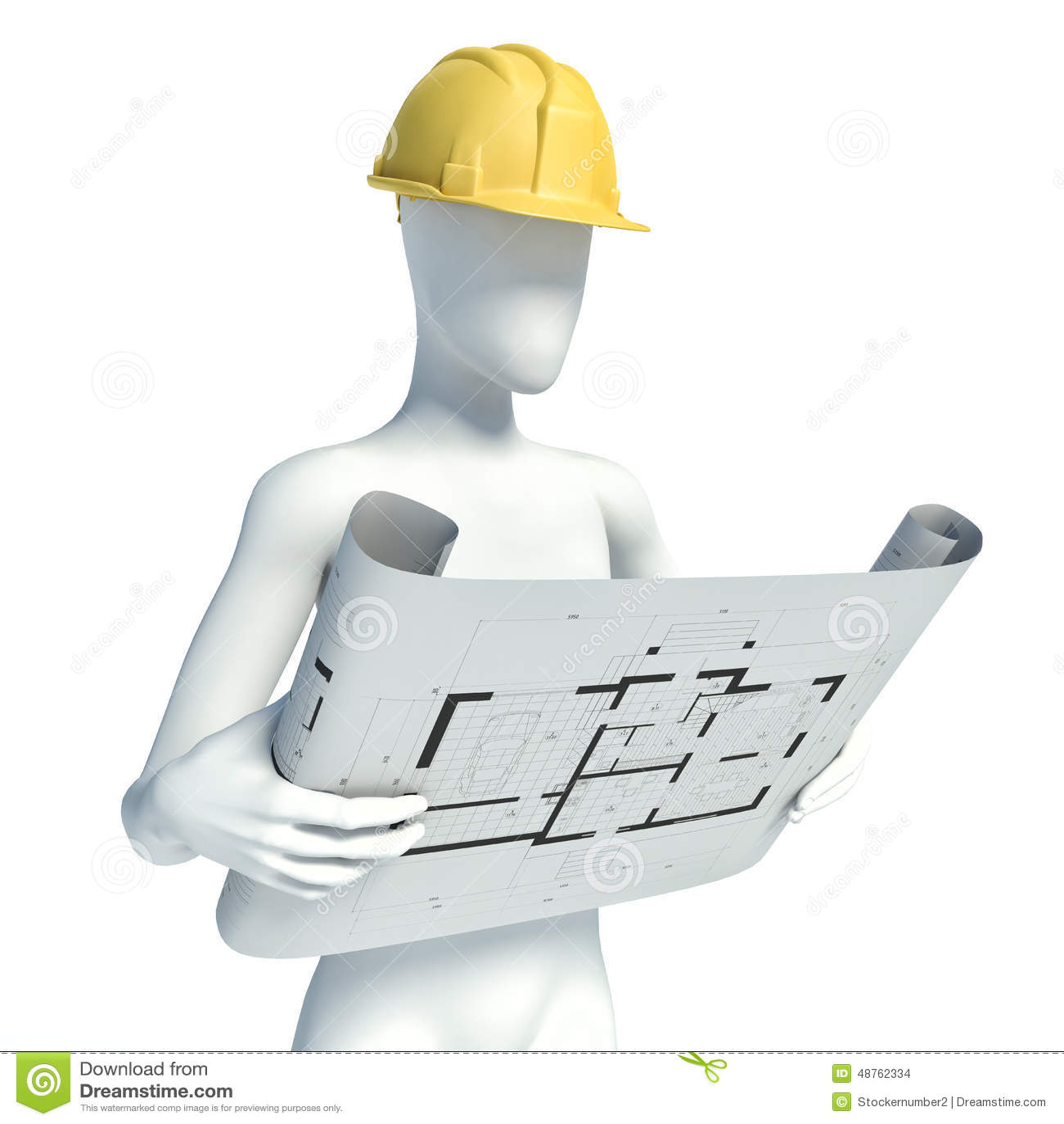 3d construction worker with helmet on white background for 3d setup builder