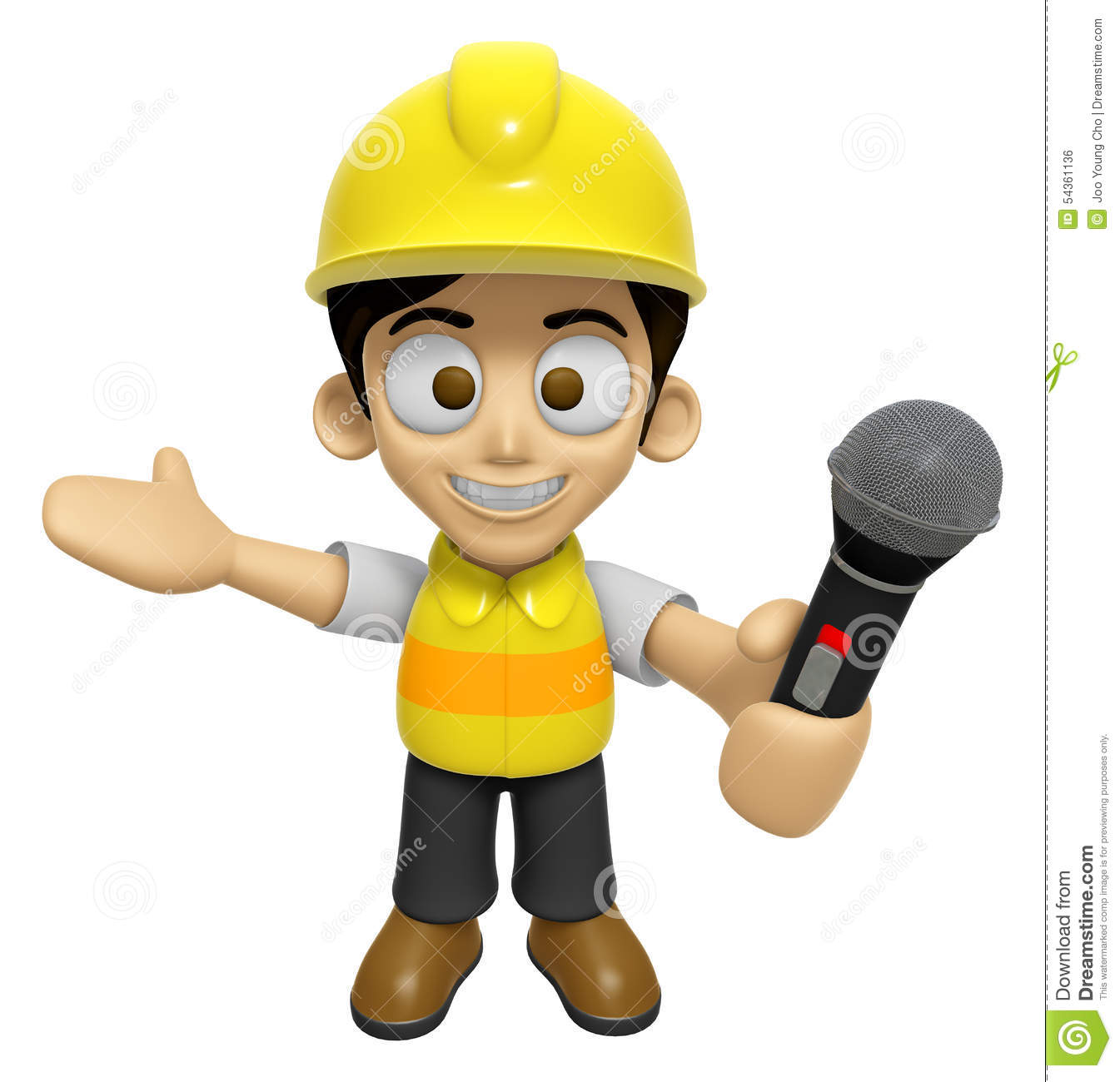 3d construction worker man mascot the hand is holding a for Character designer job