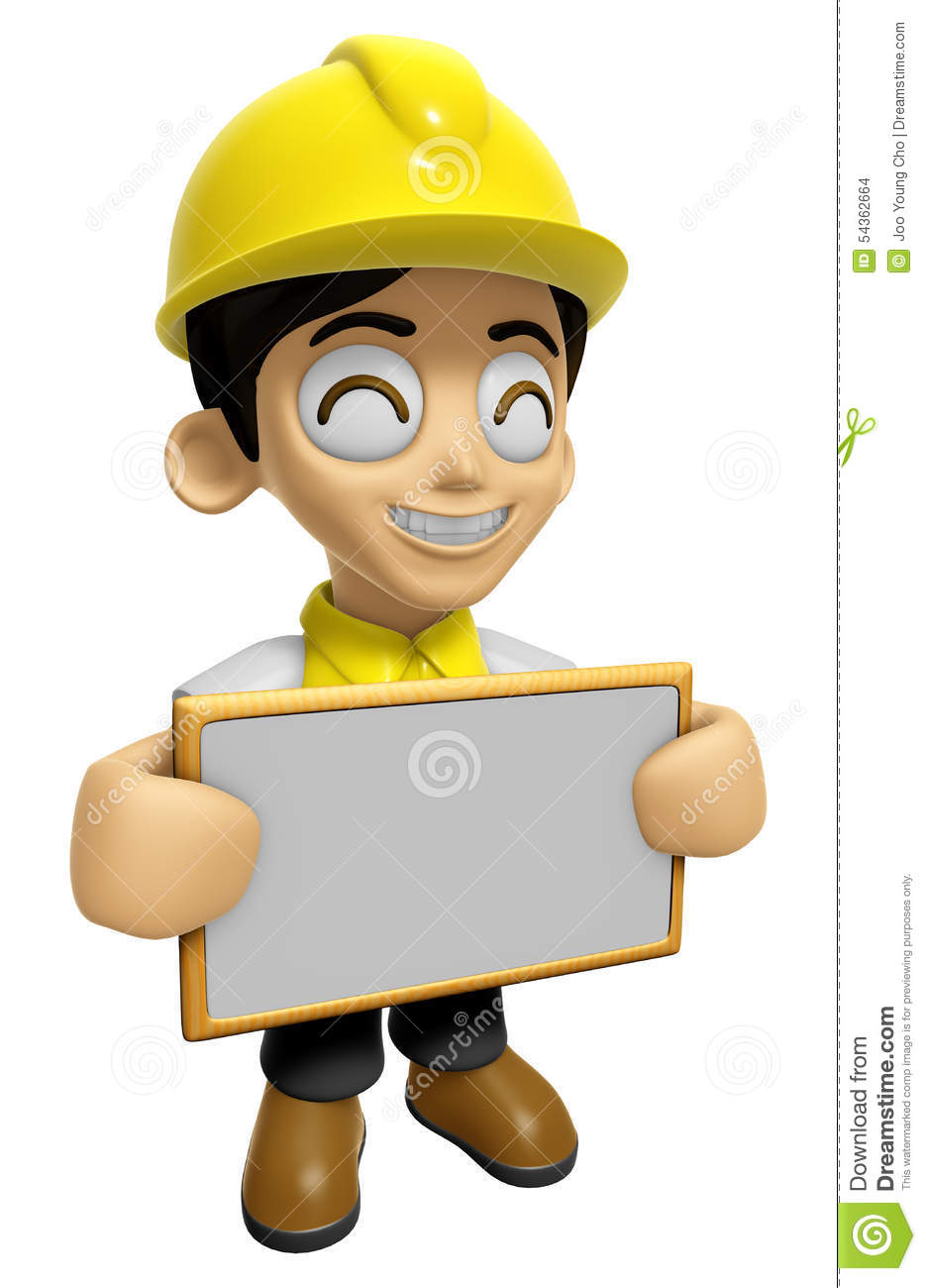 3d construction worker man mascot holding a big board with for Character designer job