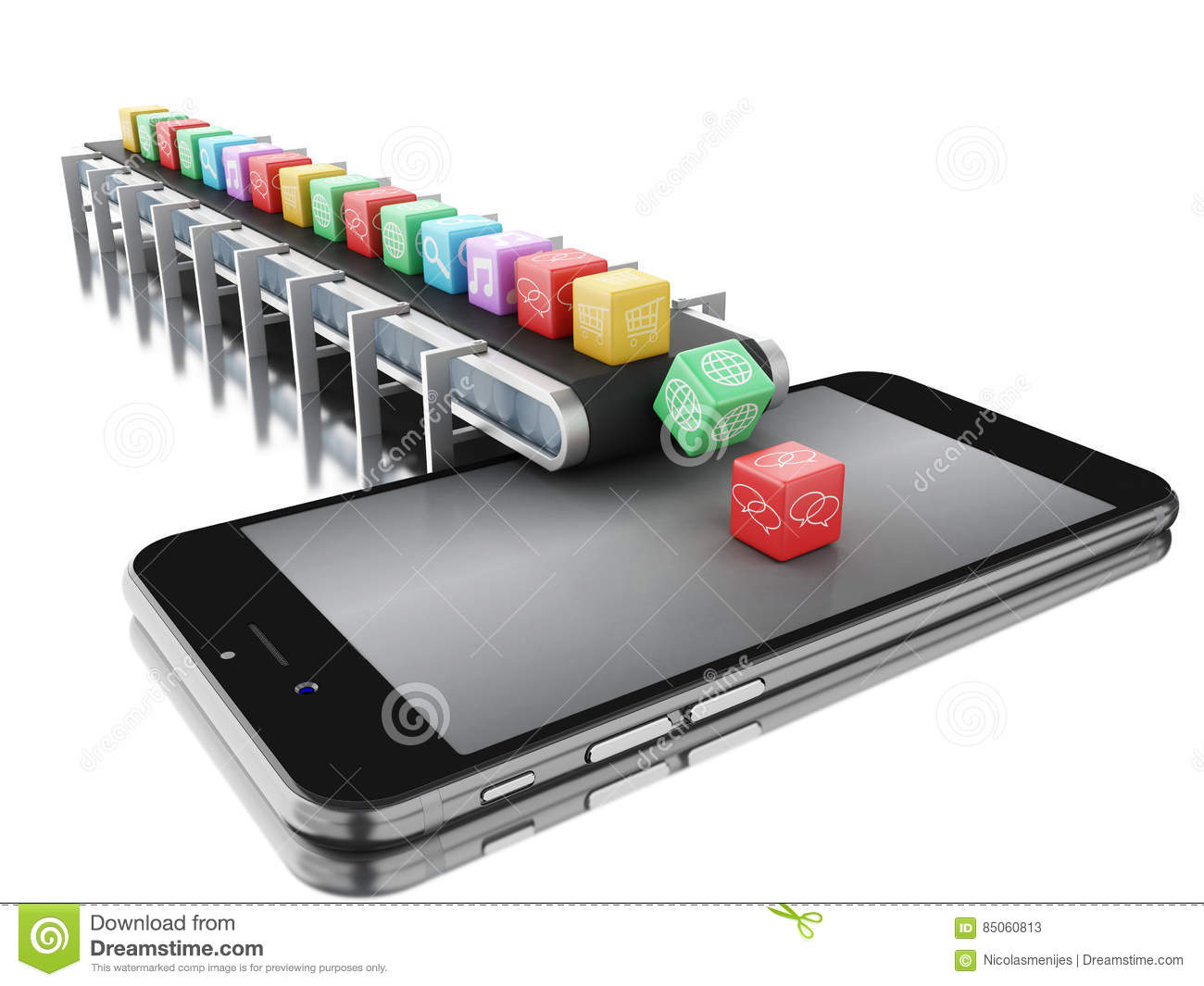 3d Conveyor Belt With App Icons And Phone  Stock Illustration