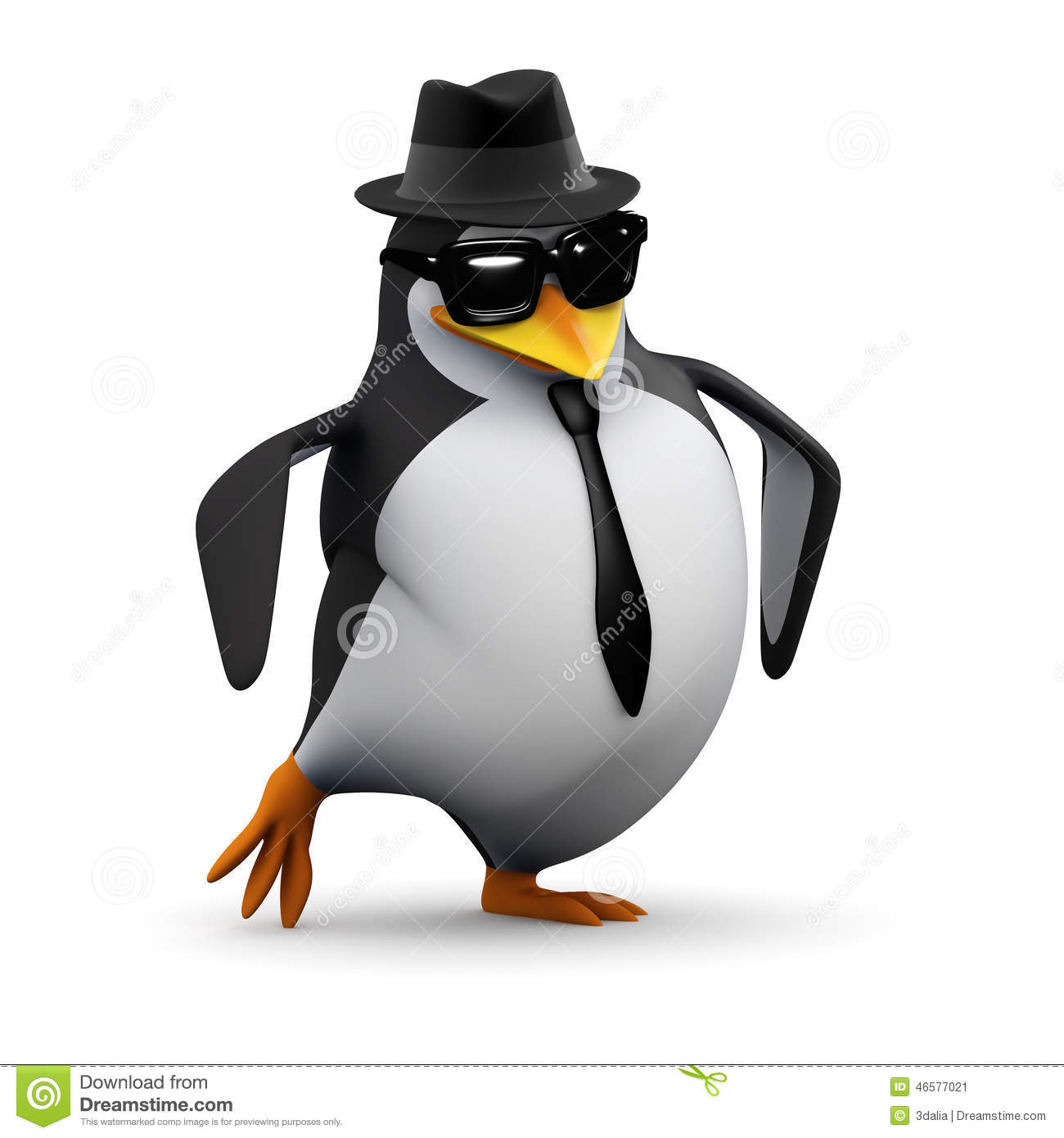 3d cool penguin does his dance stock illustration   image