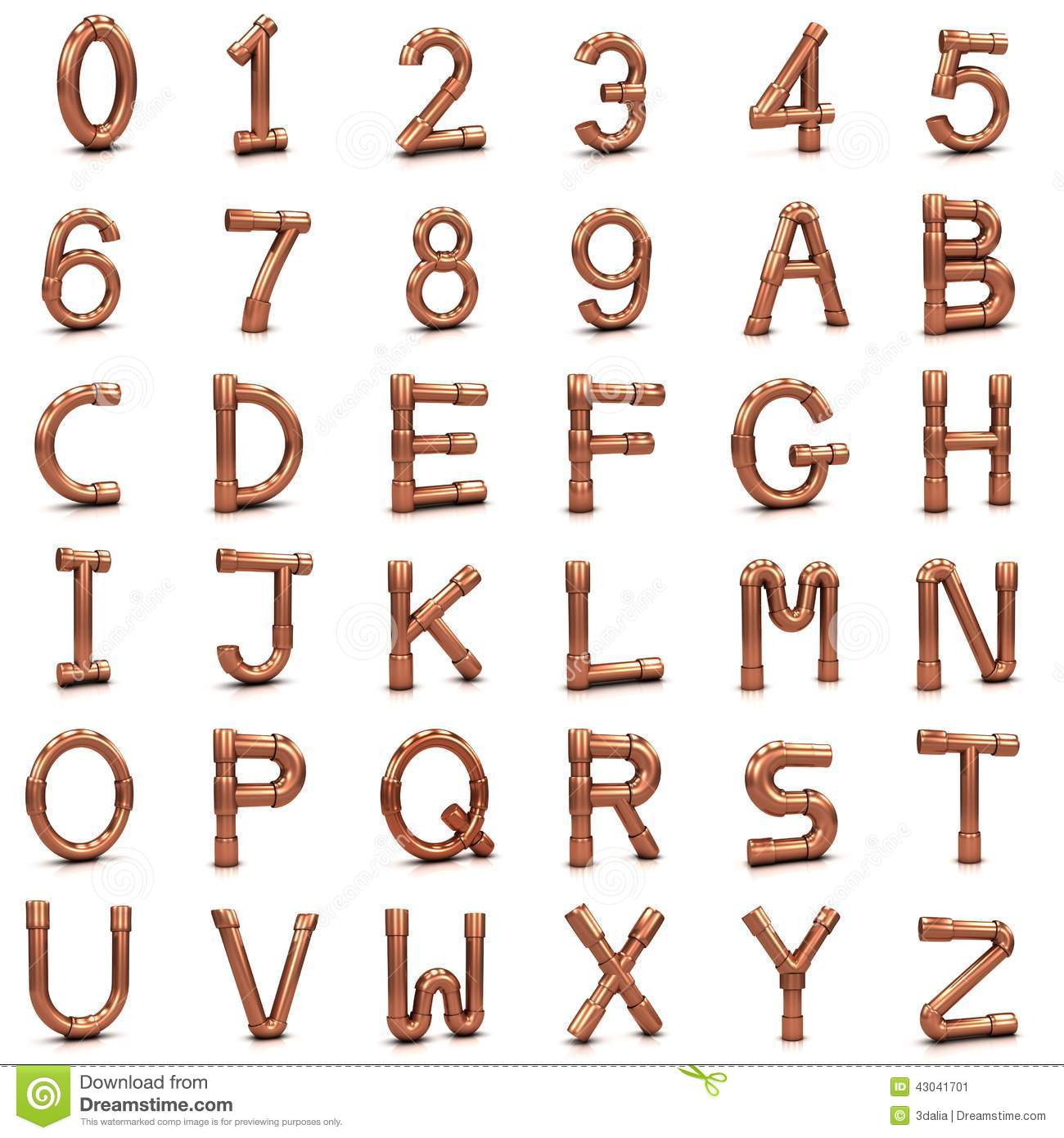 3d Copper Pipe Letters And Numbers Stock Illustration - Image ...