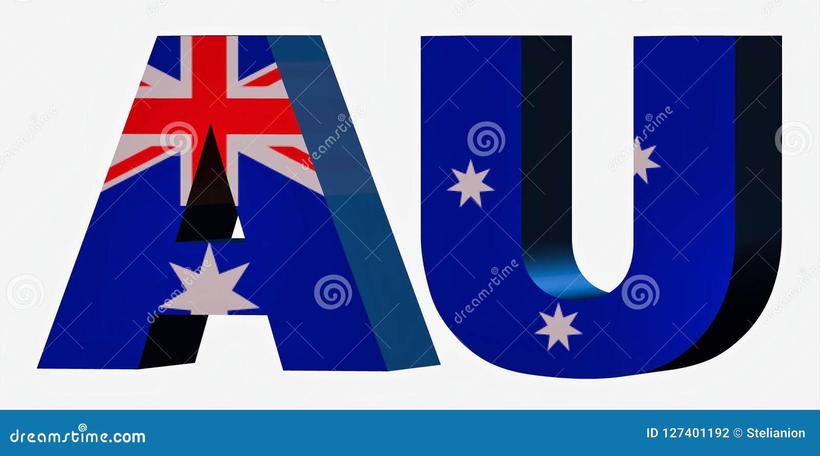 3d Country Short Code Letters - Australia Stock Illustration