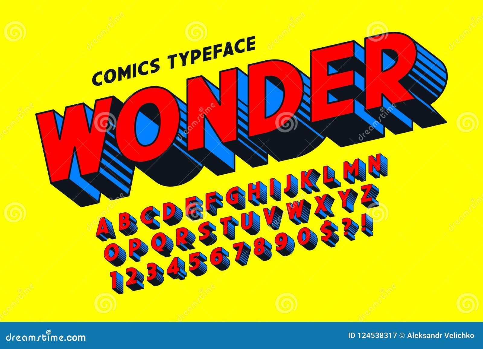 3d création de fonte comique à la mode, alphabet coloré, oeil d un caractère