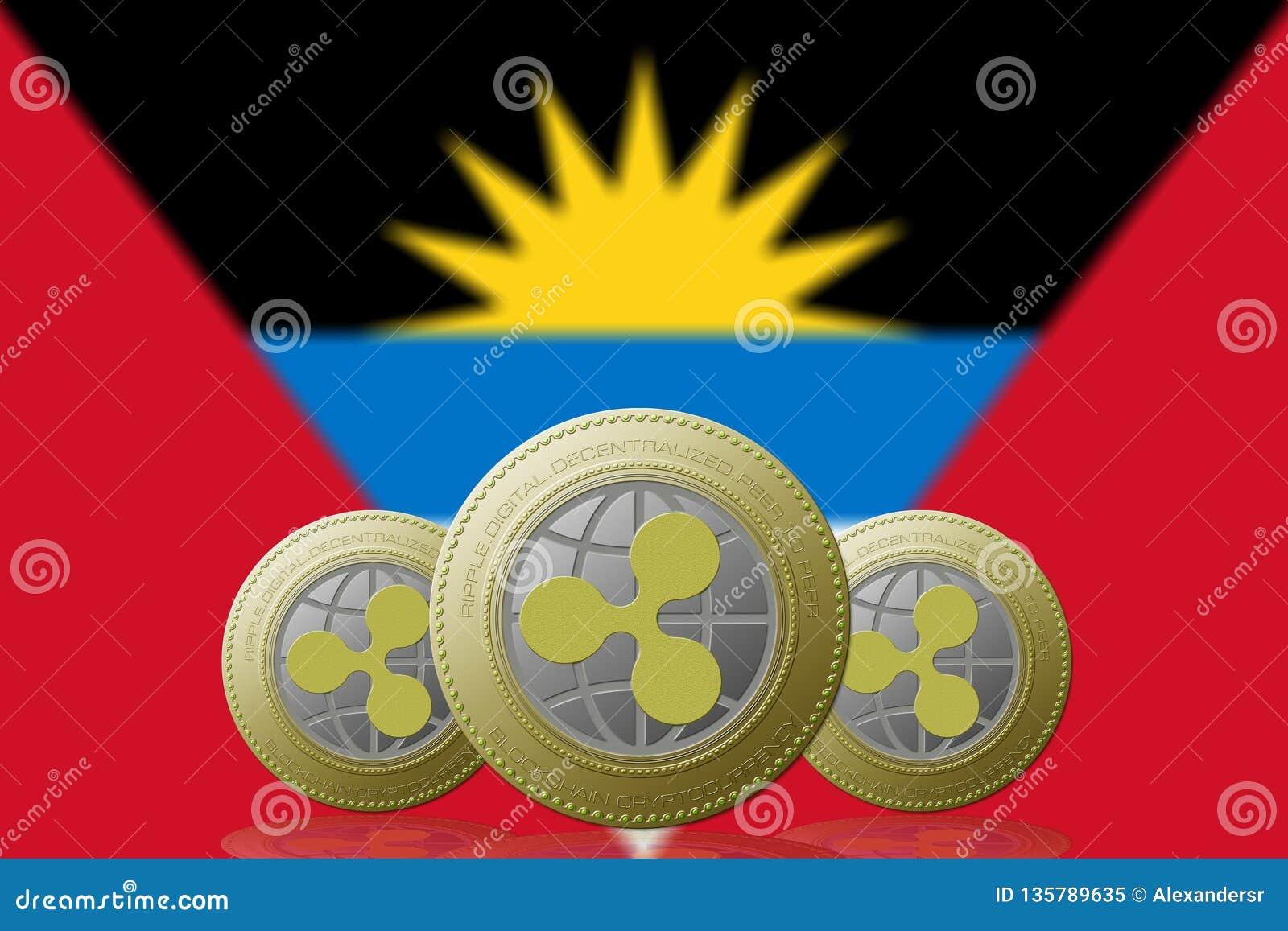 3D cryptocurrency d ONDULATION de l ILLUSTRATION trois avec le drapeau de l Antigua y Barbuda sur le fond