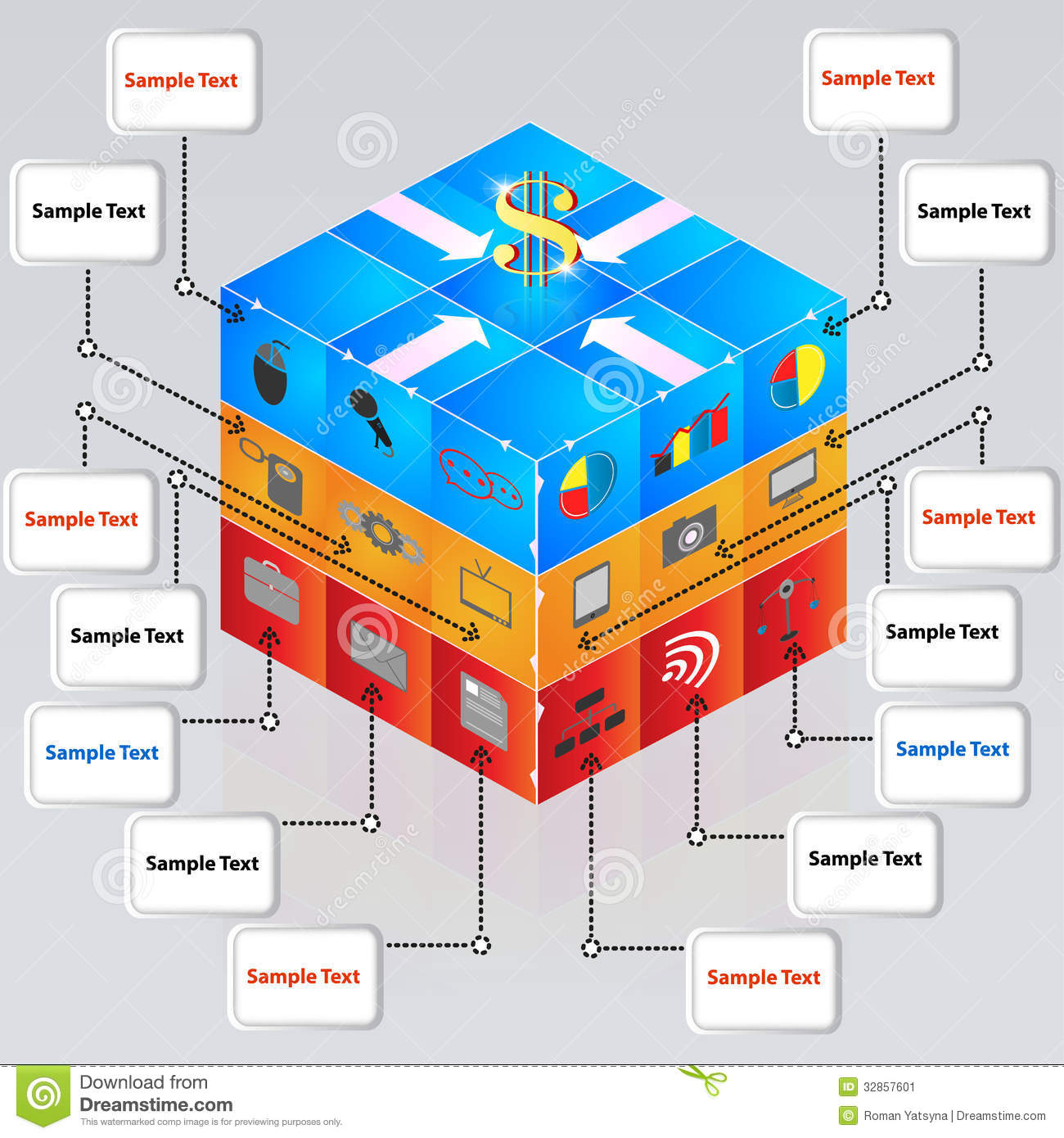3d Cube With Icons For Business Concepts Stock Vector