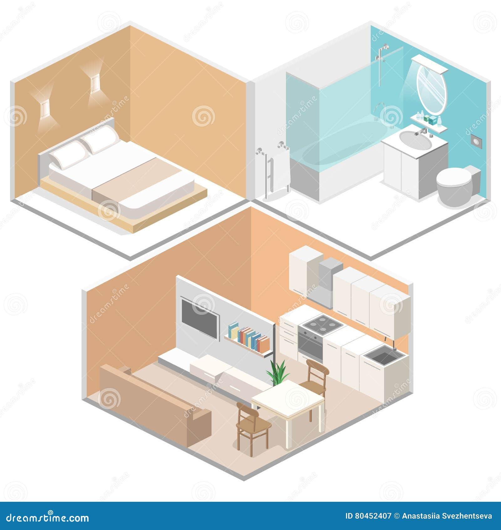 3d cuisine intrieure plate isomtrique salle de bains chambre coucher de salon