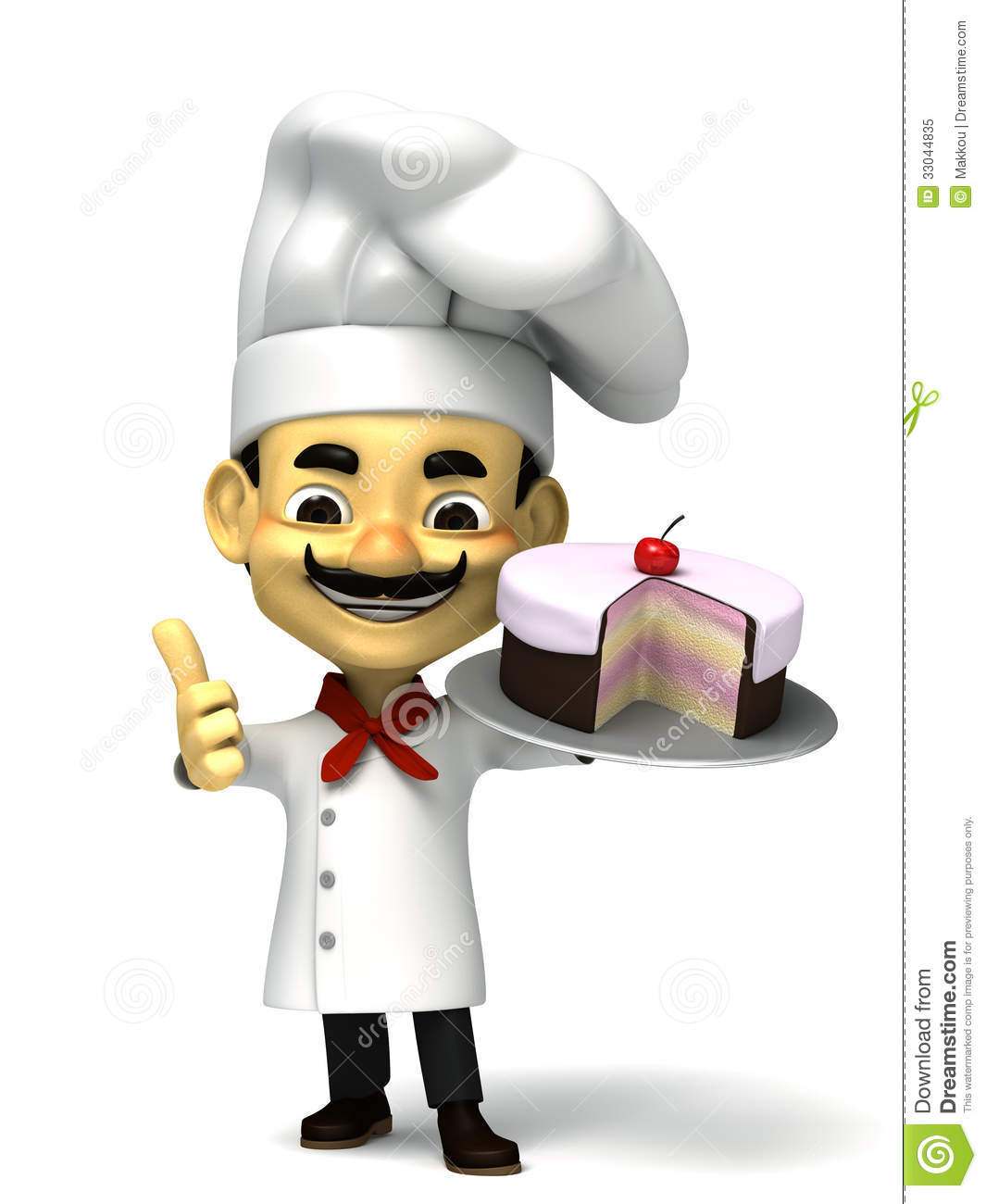3d Cute Chef With Cake Royalty Free Stock Photo Image