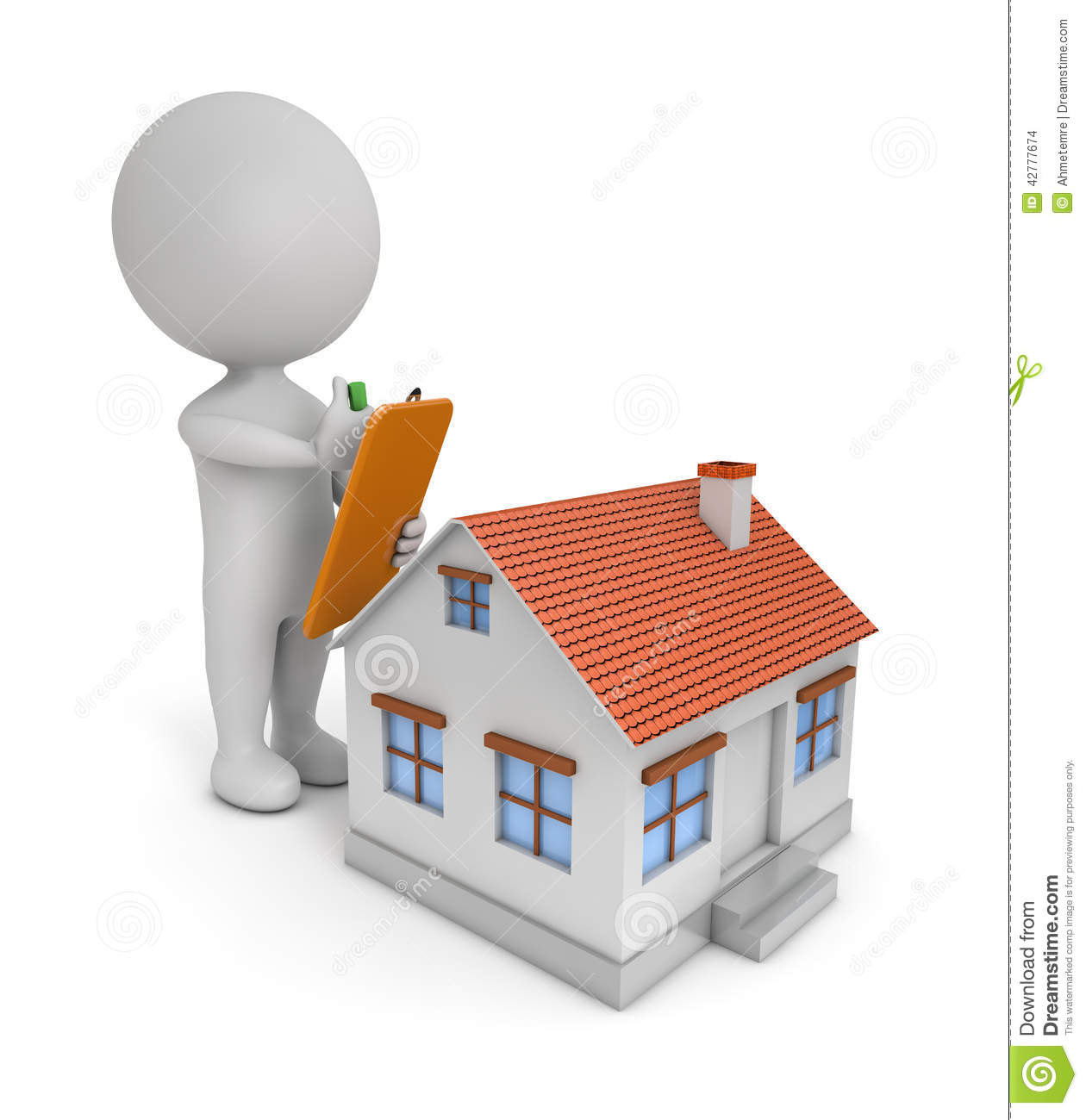 3d cute people house check stock illustration image for Home design 3d professional italiano gratis