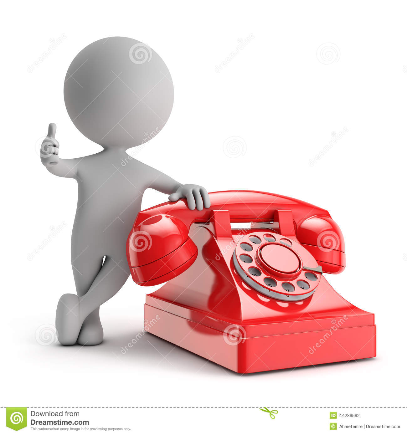 3d Cute People Standing With Red Phone Contact Us