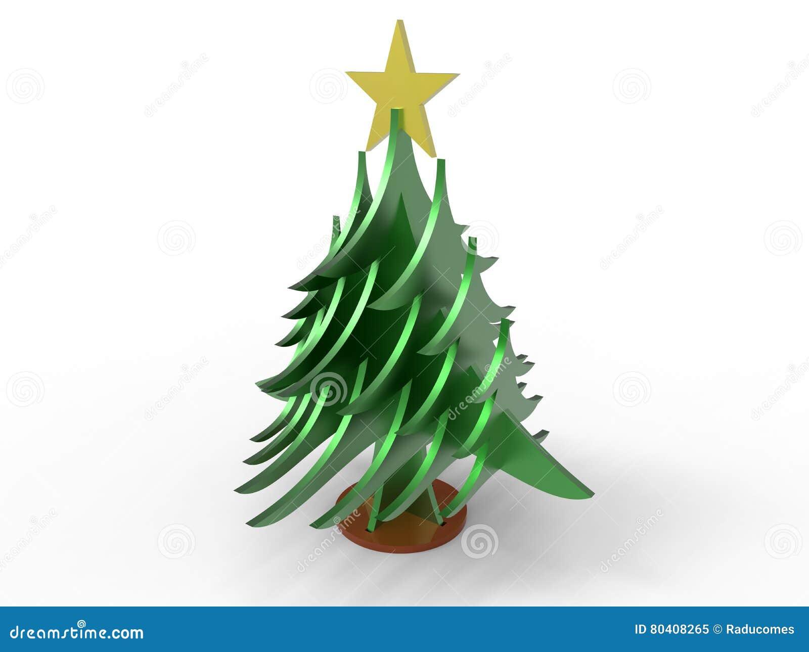 Christmas Tree Cutout.3d Cutout Pieces Christmas Tree Stock Illustration