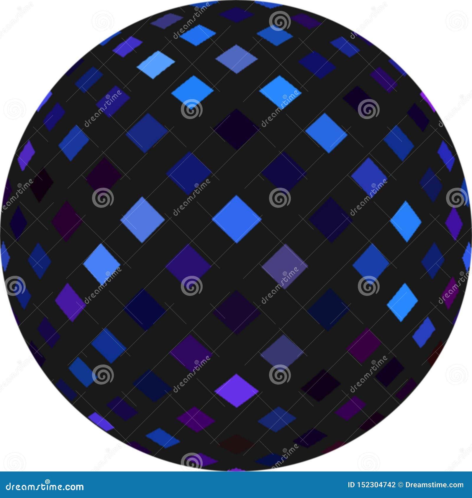 3d czernią sferę z błękitnym migoczącym mozaika wzorem balowy dyskoteki zieleni przedmiota pomara?czowej czerwieni wektoru kolor