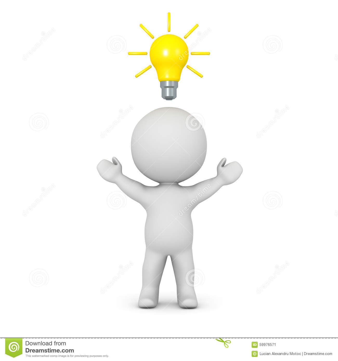 A 3D Character With His Arms Raised And Light Bulb Idea Above Head On White Background