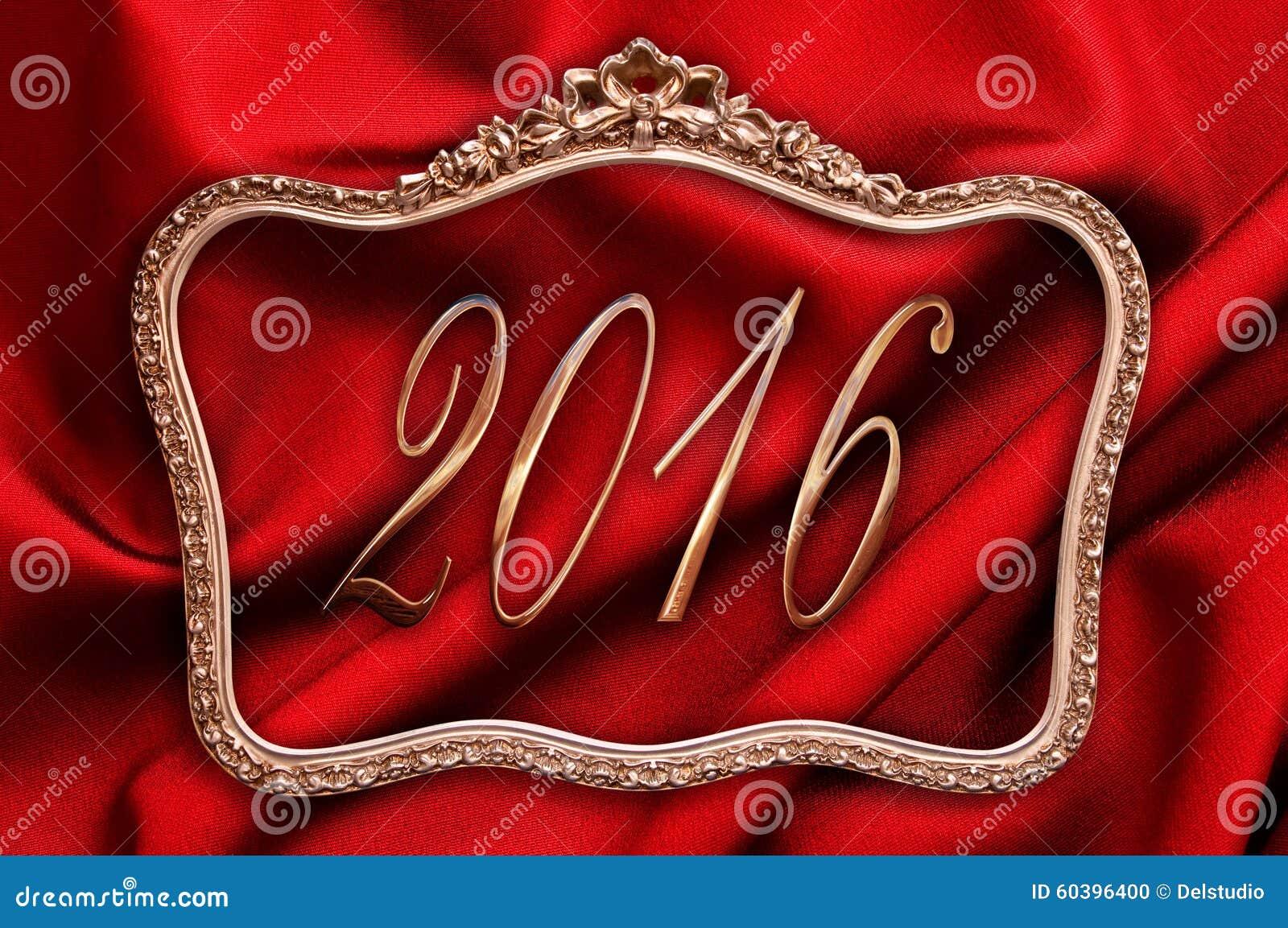 2016 d or dans un cadre antique avec la soie illustration stock image 60396400