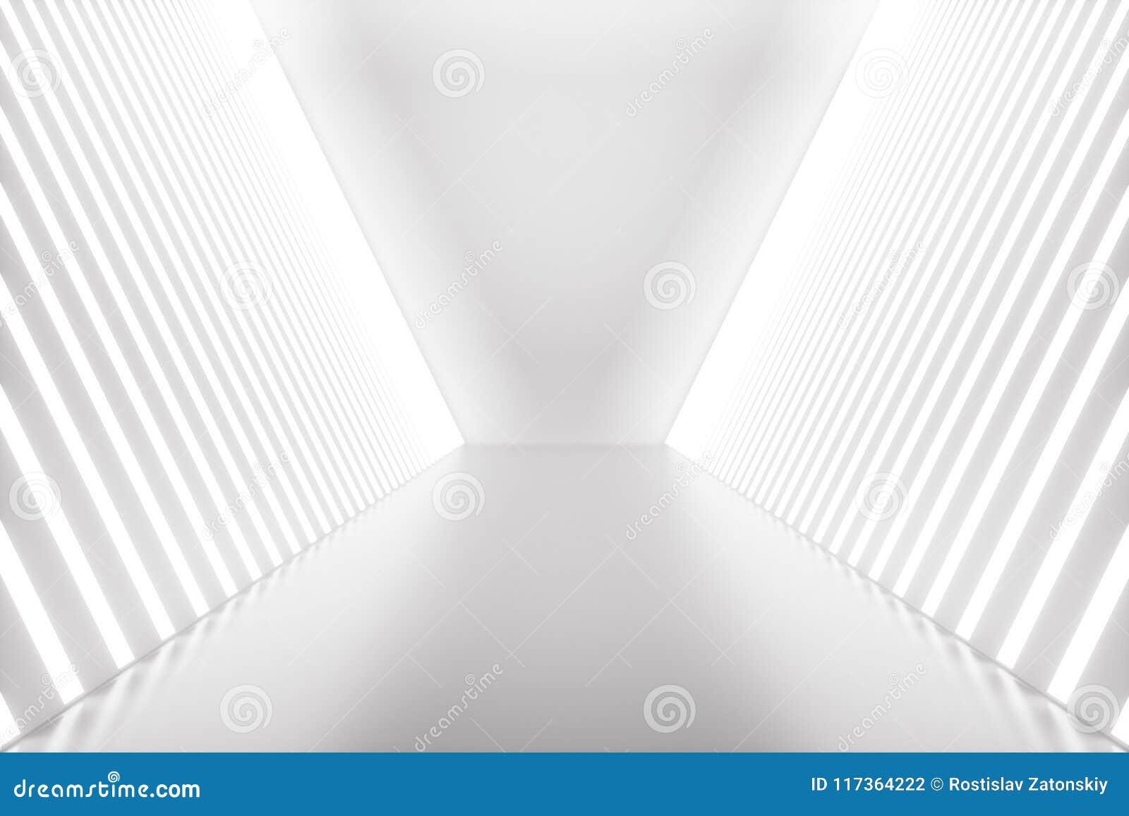3D, das abstrakten Raum Innen mit Neonlichtern macht Futuristischer Architekturhintergrund Modell für Ihr Design