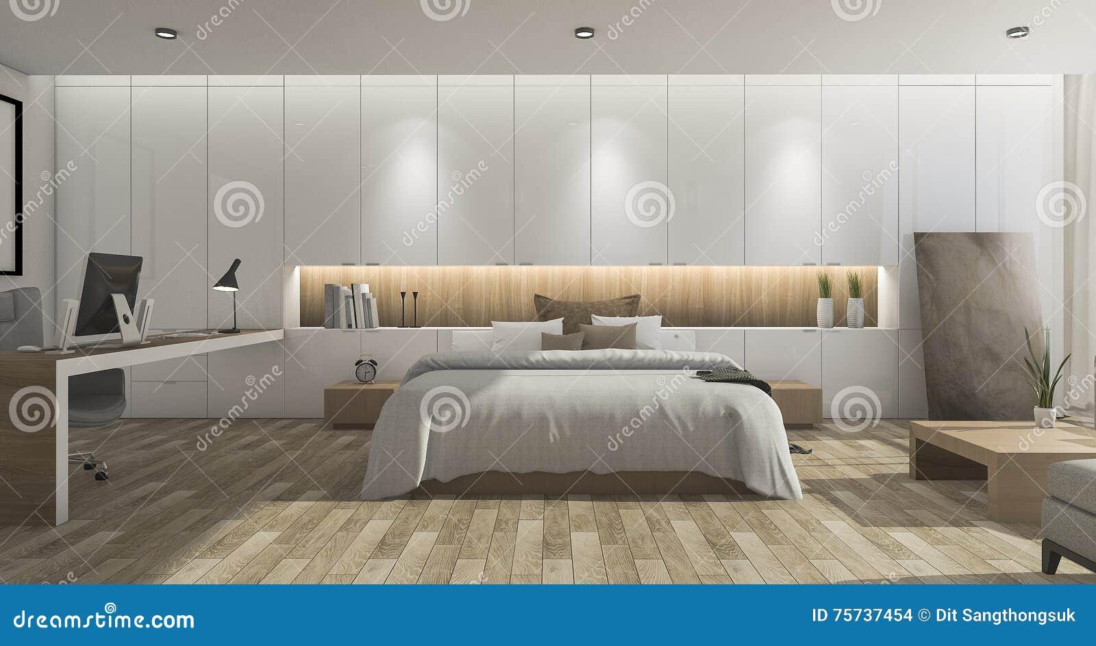 Holzfußboden Schlafzimmer ~ D das breites schönes schlafzimmer mit holzfußboden überträgt