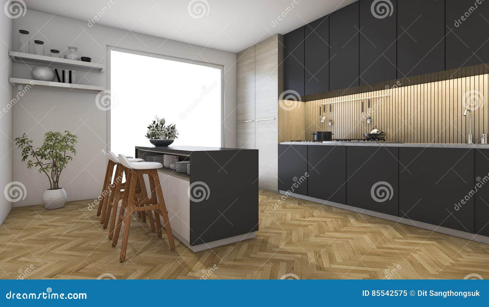 Holzfußboden In Der Küche ~ 3d das dunkle küche mit holzfußboden nahe fenster überträgt stock