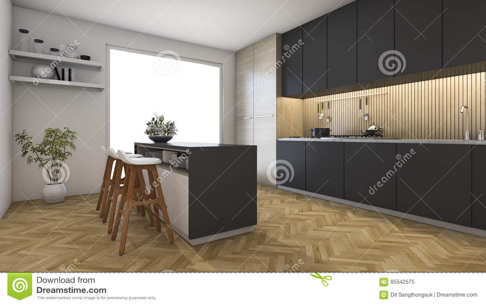 Dunkler Holzfußboden ~ 3d das dunkle küche mit holzfußboden nahe fenster überträgt stock