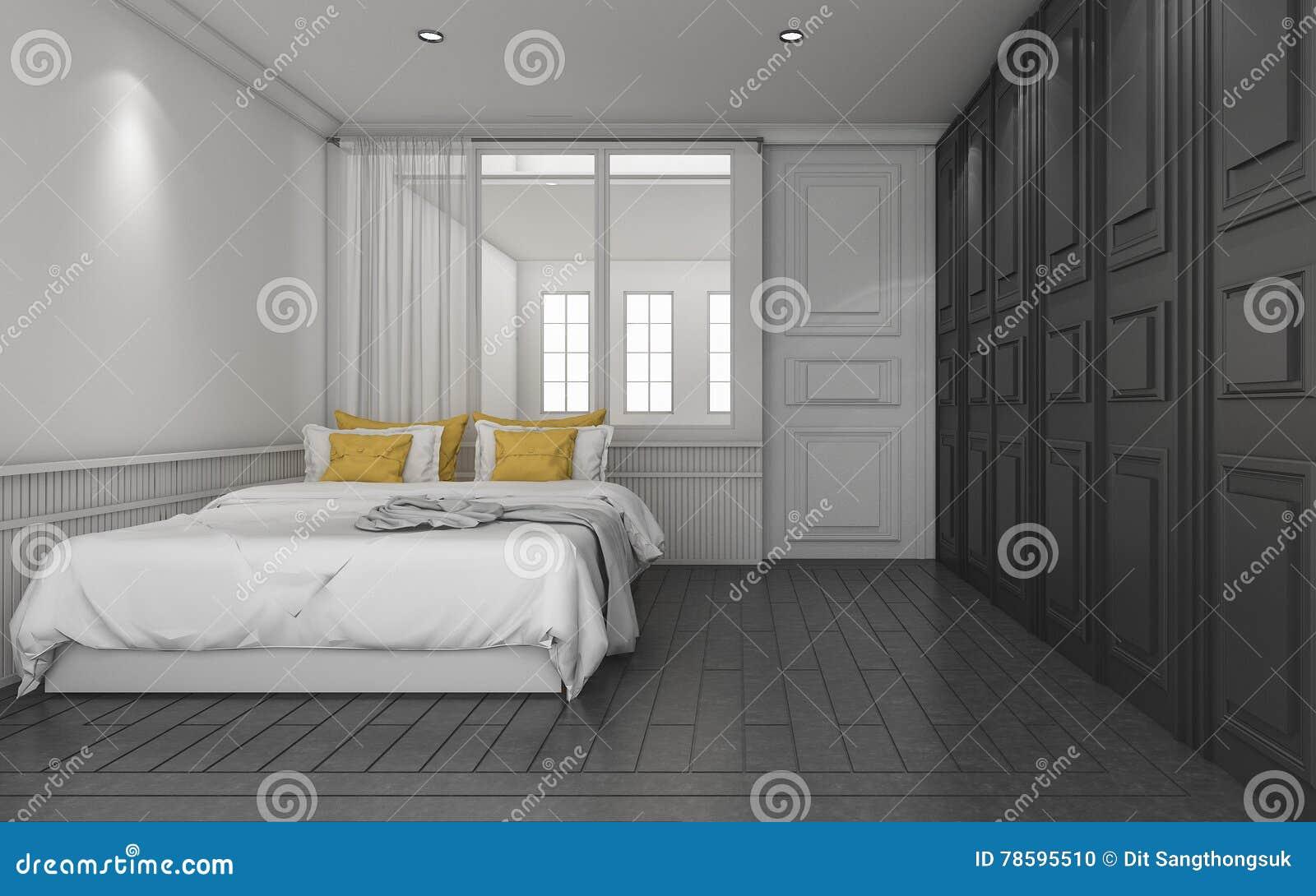 3d Das Dunkles Klassisches Schlafzimmer Mit Gelbem Bett überträgt