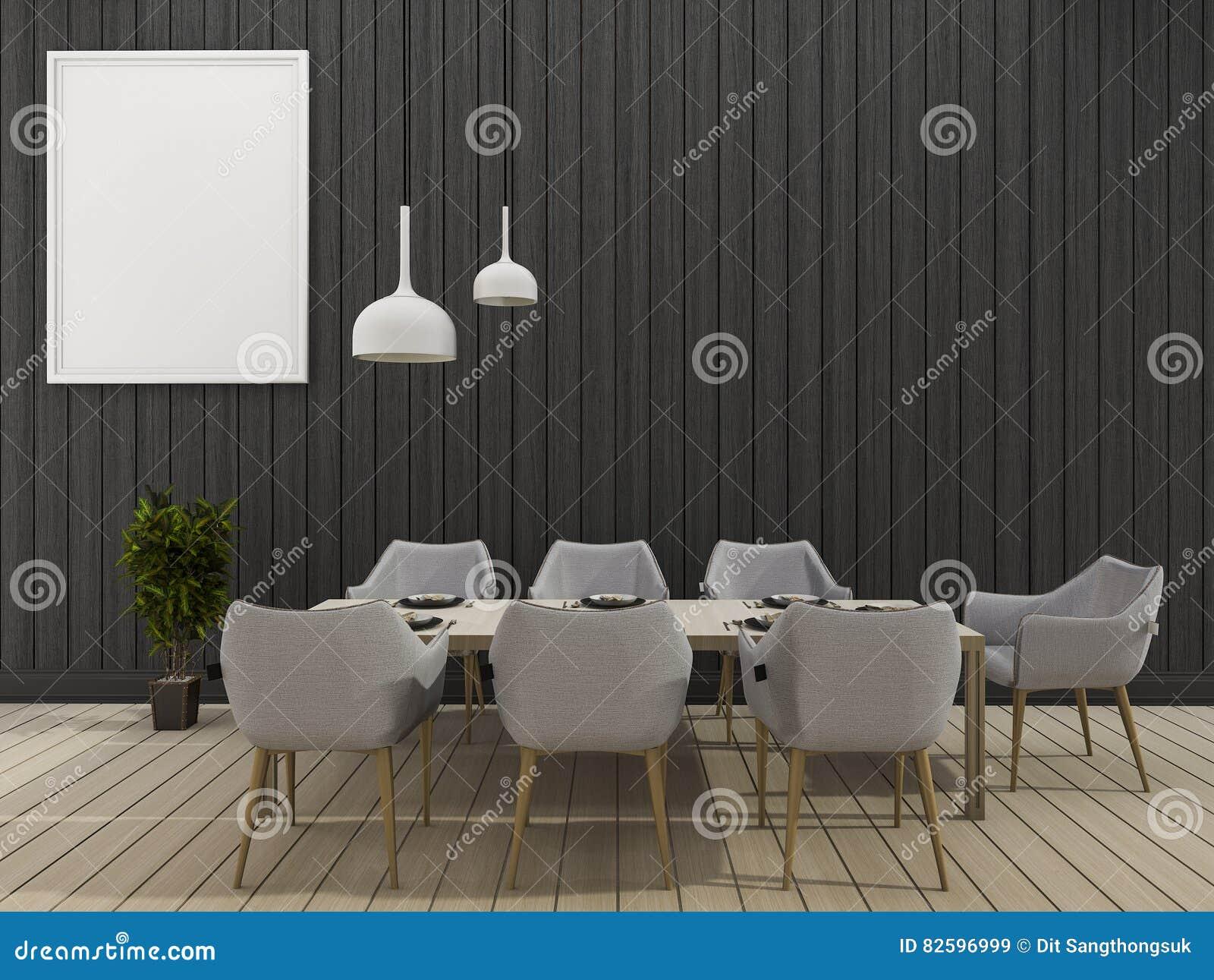 3d, das esszimmer der schwarzen wand mit minimalem speisendem satz, Wohnzimmer dekoo