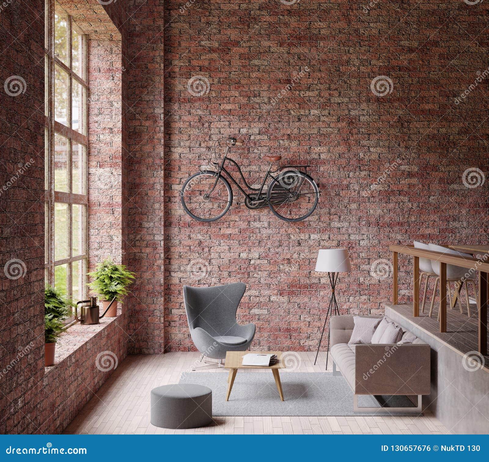 3D, das Industrail-Artwohnzimmer, großes Fenster, graue Couch der Lampe und Stuhl, Bretterboden, Fahrrad auf der Wand des roten B