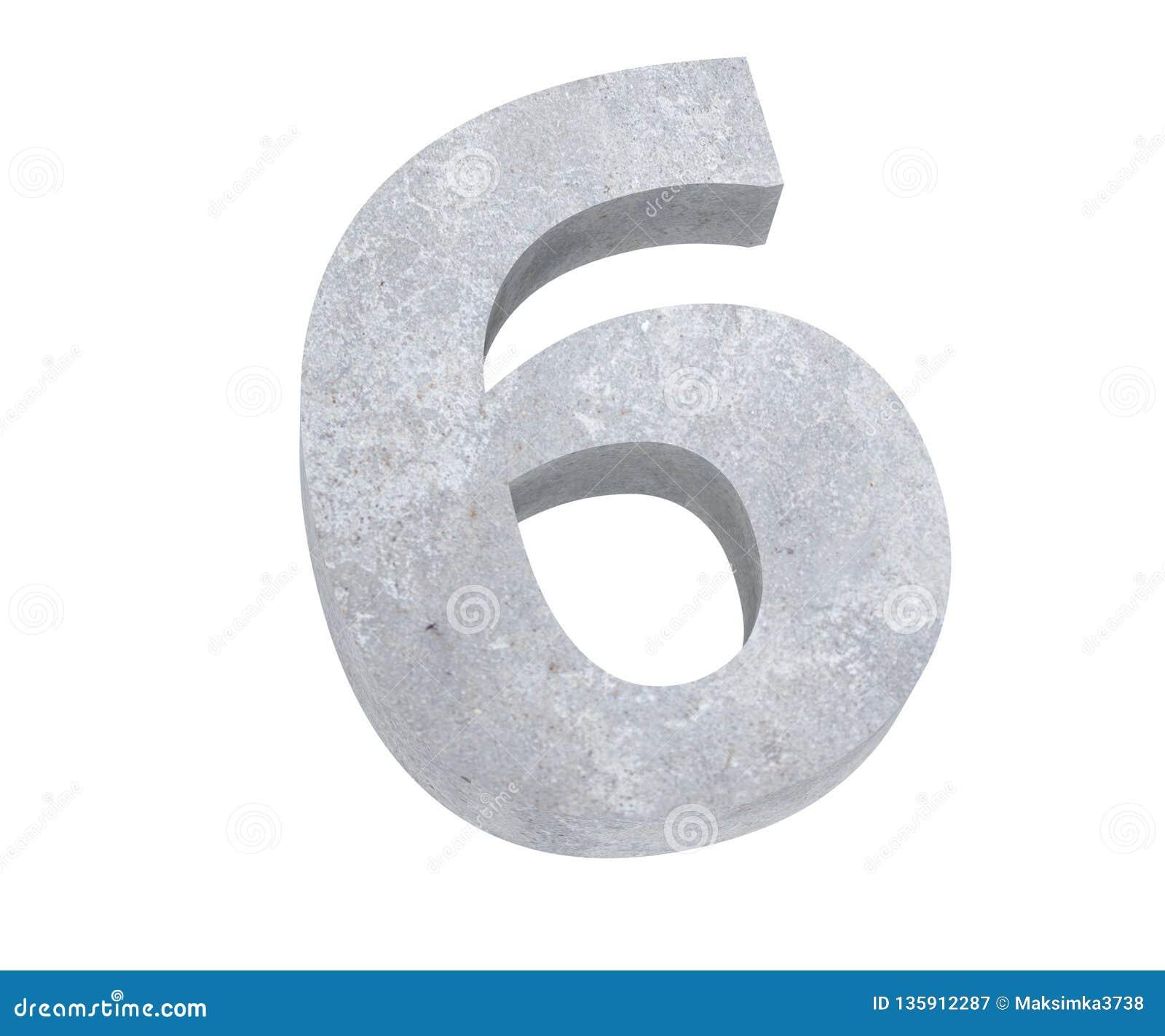 3D, das konkrete Zahl 6 sechs überträgt 3d übertragen Abbildung