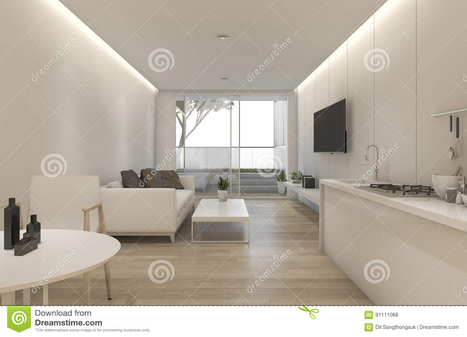 Schön Weißes Wohnzimmer Dekoration Von 3d, Das Minimales Weißes Und Küche Mit