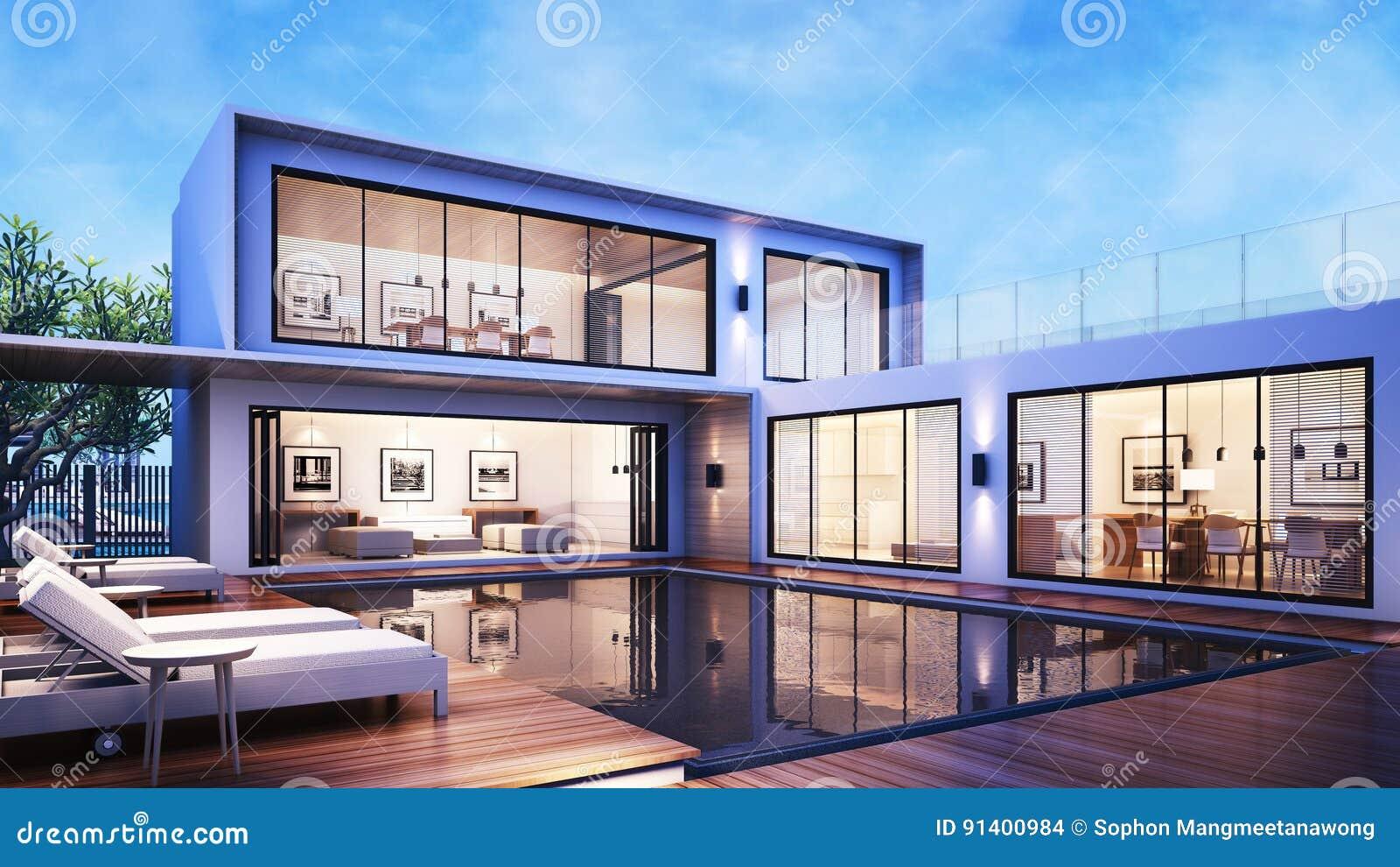 3D, Das Modernes Haus-Pool-Landhaus/Pool-Ansicht Daybed Auf Dem ...